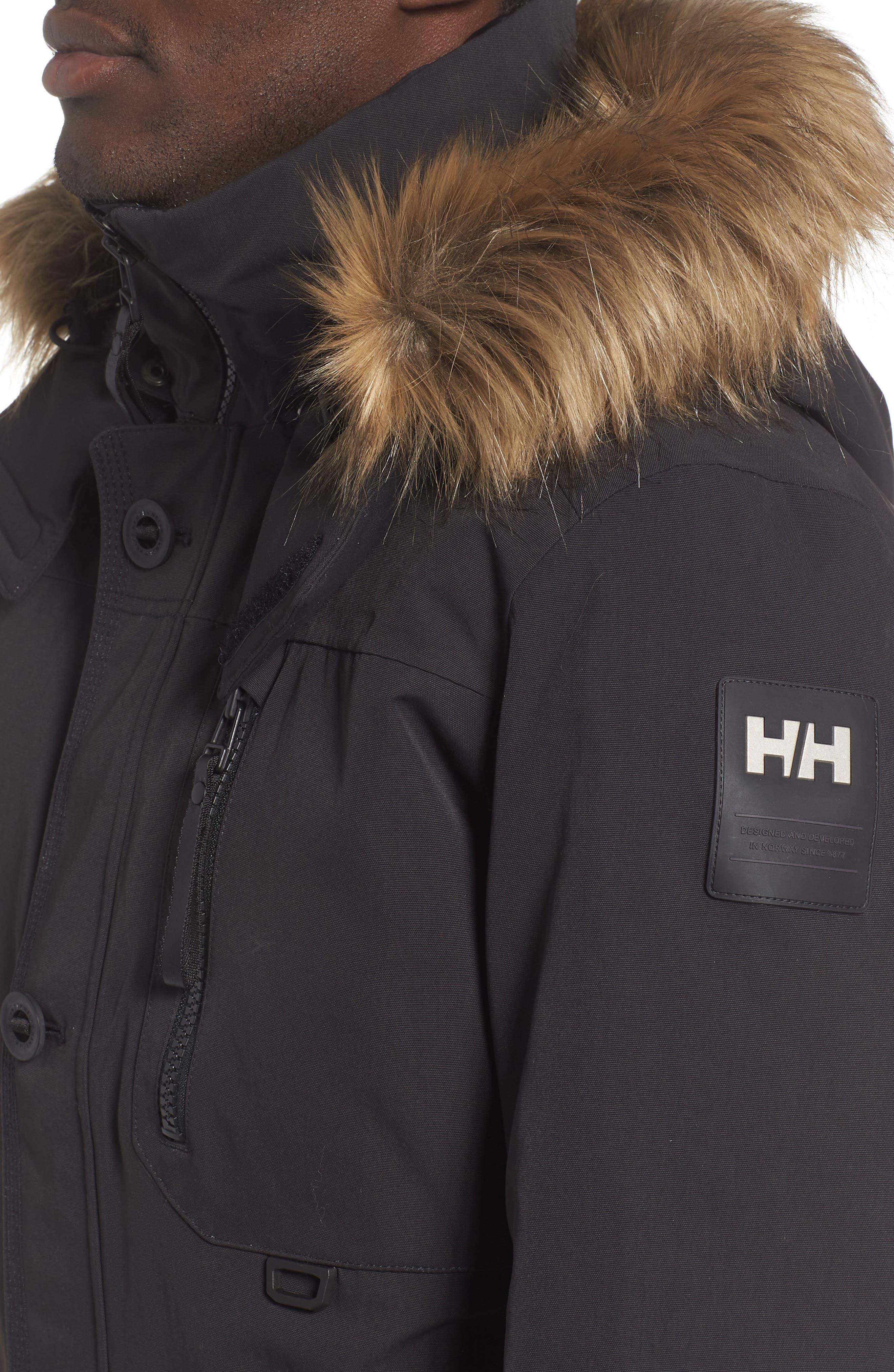 Bardu Waterproof Bomber Jacket with Detachable Hood and Faux Fur Trim,                             Alternate thumbnail 4, color,                             BLACK