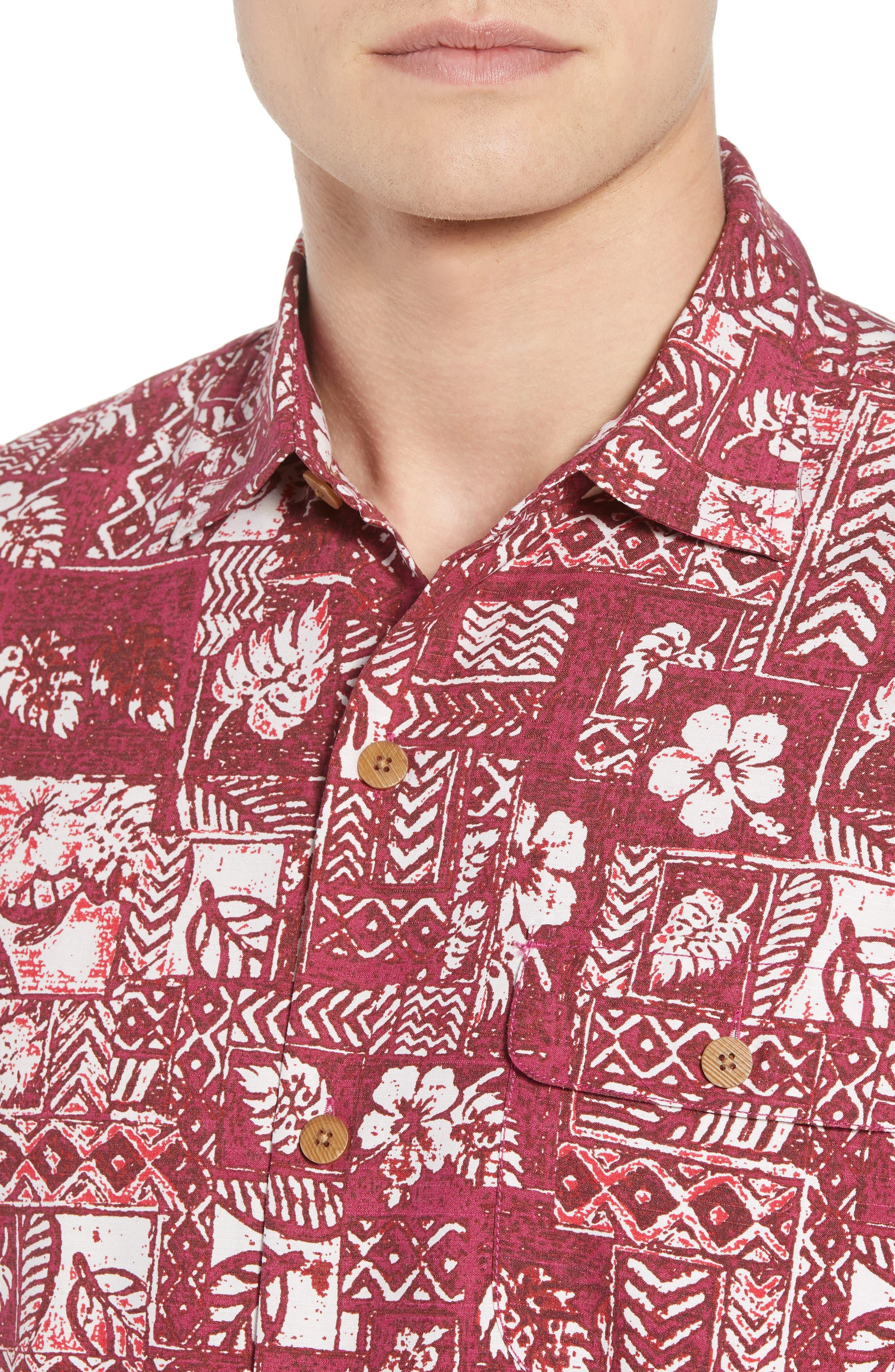 Veracruz Border Tiles Silk Blend Camp Shirt,                             Alternate thumbnail 4, color,                             600