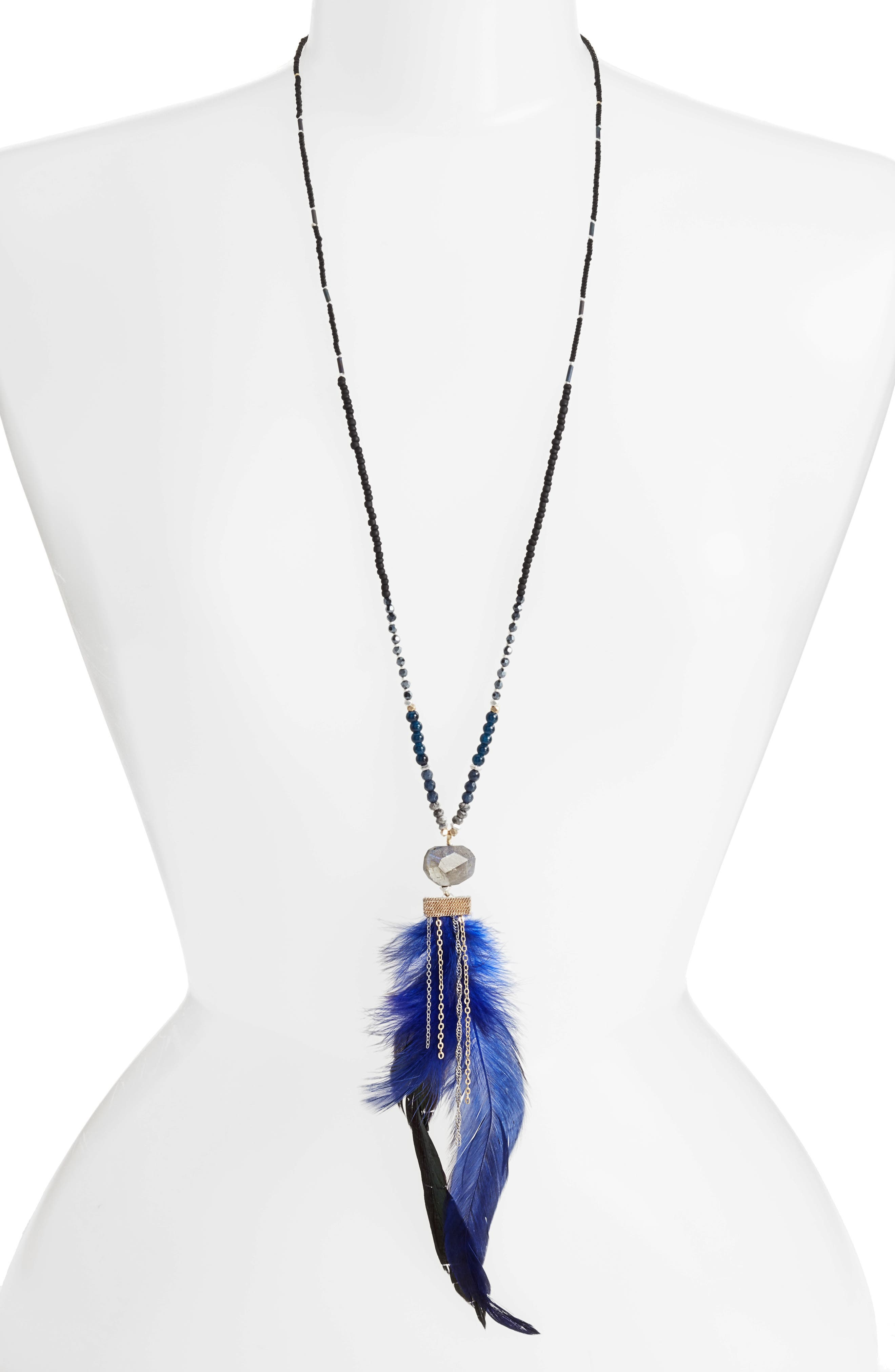 Long Feather Pendant Necklace,                         Main,                         color, 400