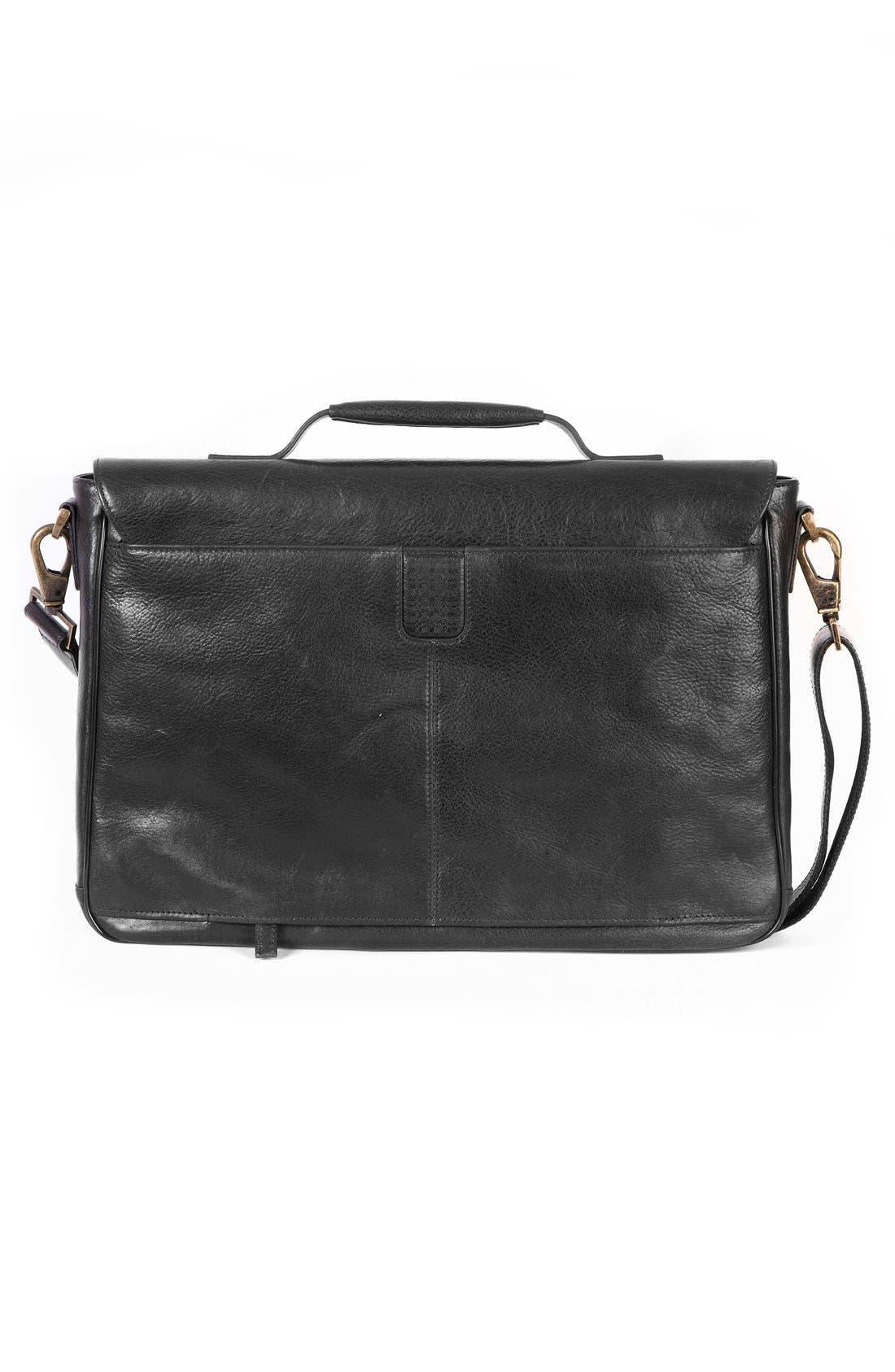 'Becker' Leather Messenger Bag,                             Alternate thumbnail 2, color,                             BLACK W/ KHAKI
