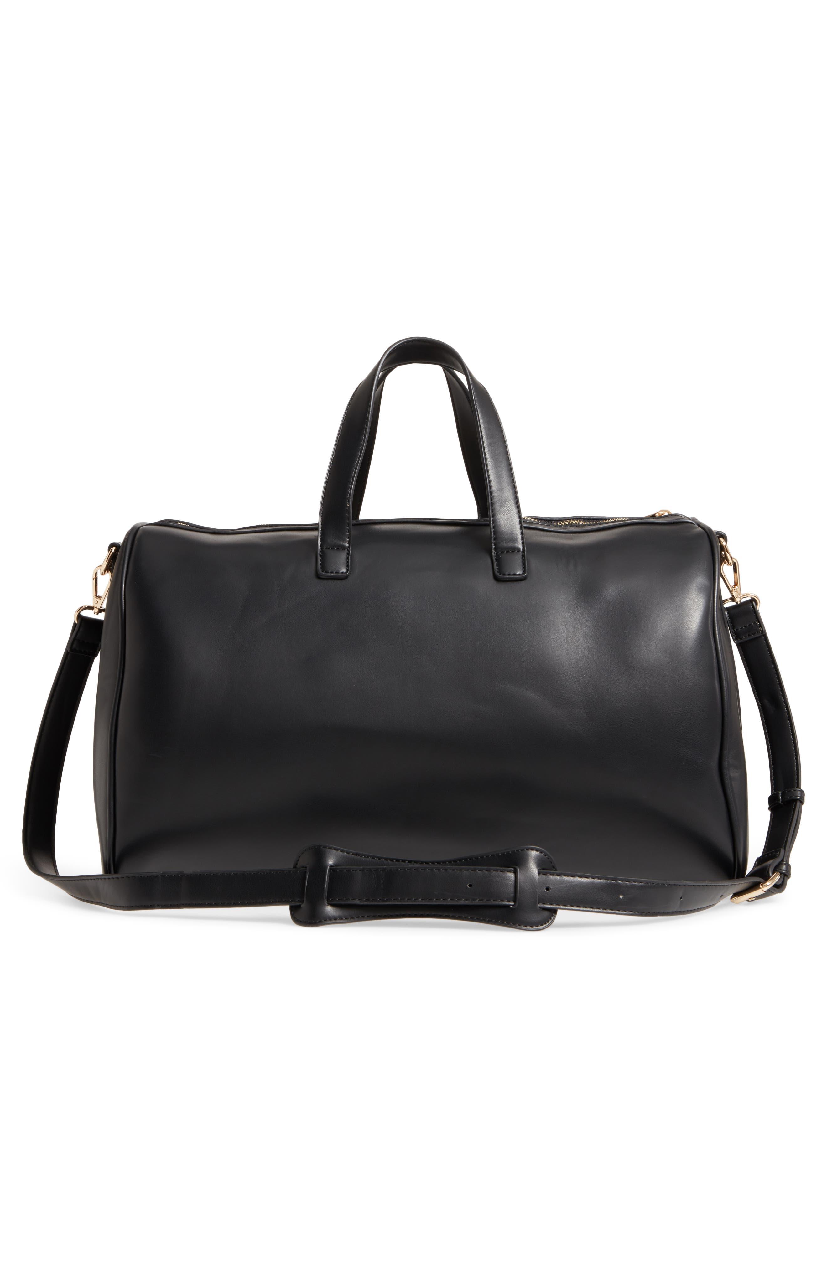 Stripe Faux Leather Duffel Bag,                             Alternate thumbnail 3, color,                             001