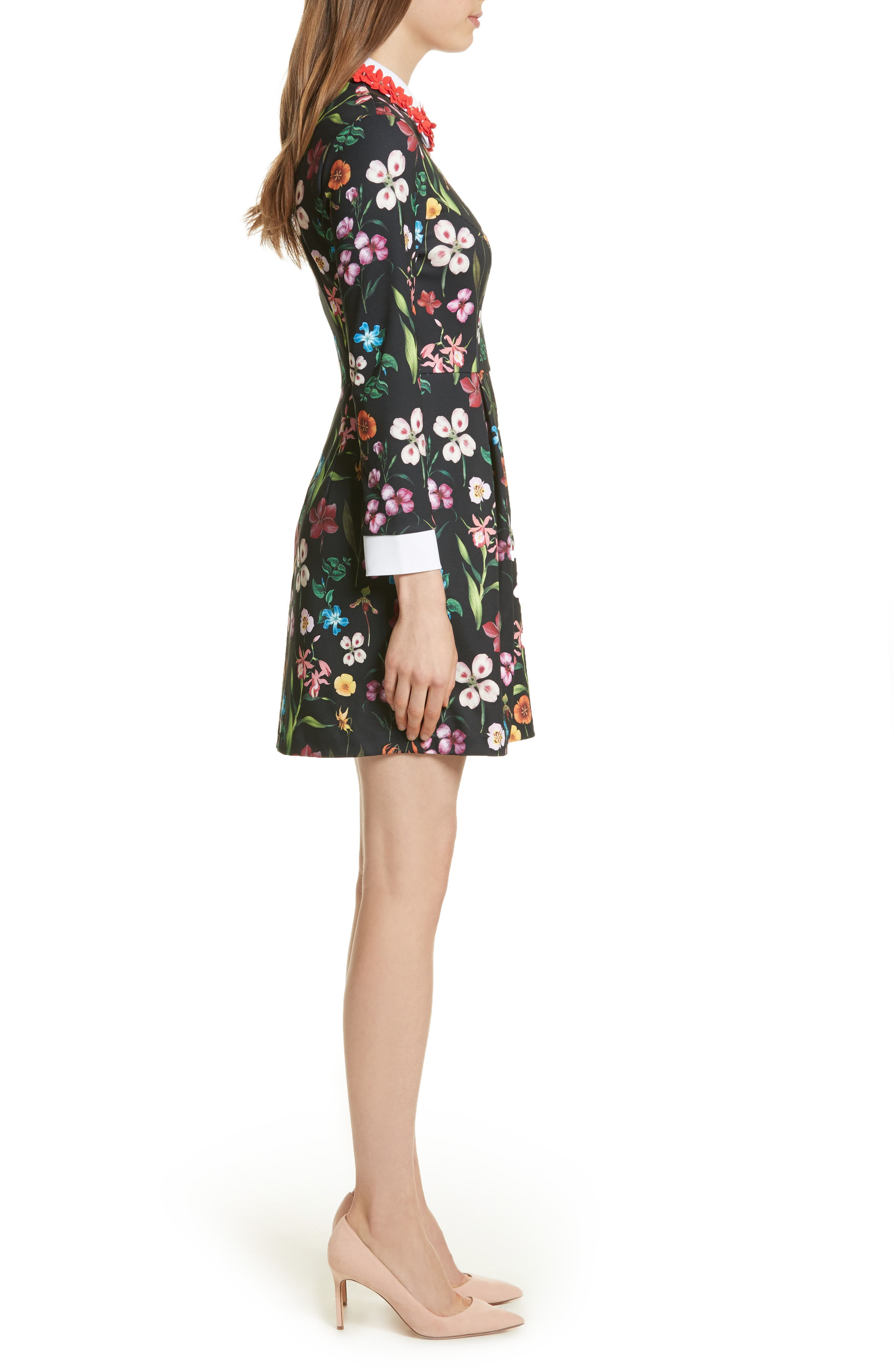 Hampton Embellished Collar Floral Dress,                             Alternate thumbnail 3, color,