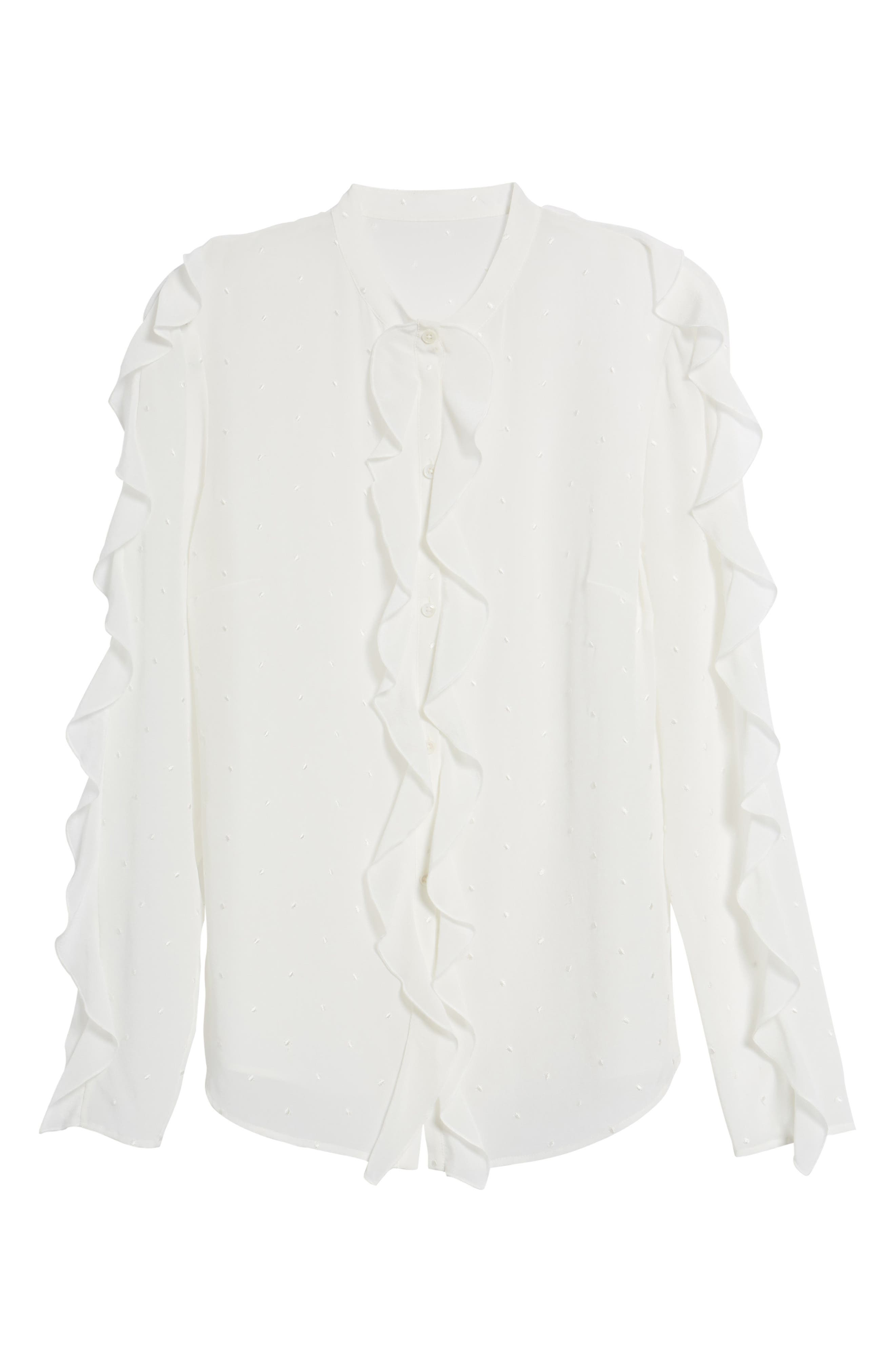 Ruffle Detail Embroidered Silk Blouse,                             Alternate thumbnail 6, color,                             900
