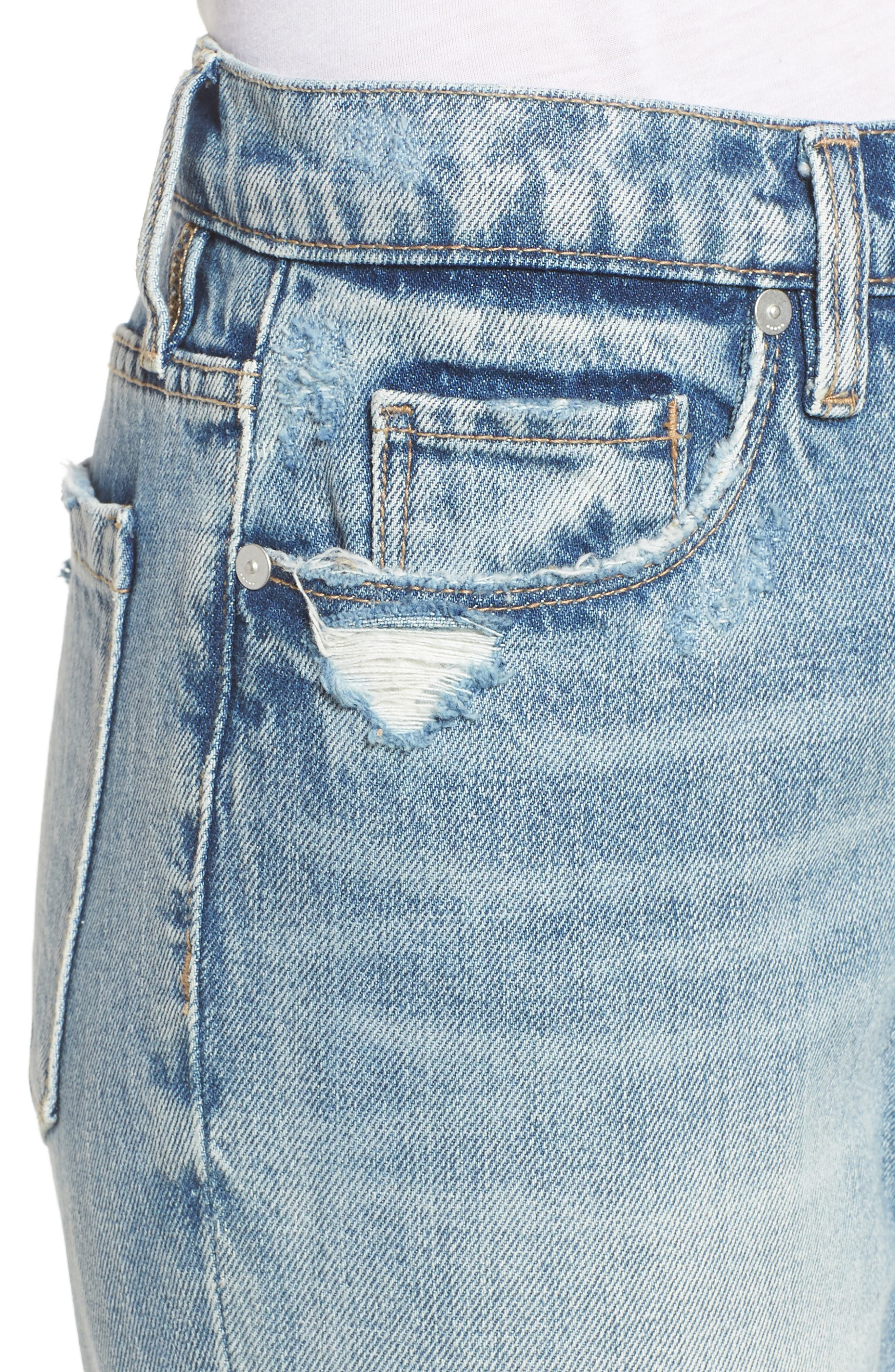 Distressed Rigid Straight Leg Jeans,                             Alternate thumbnail 4, color,                             400