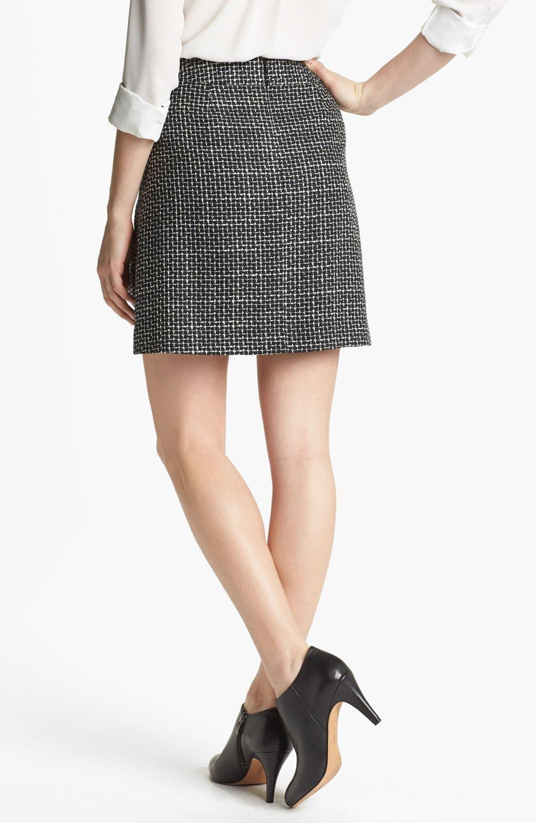 Pleated A-Line Skirt,                             Alternate thumbnail 3, color,                             001