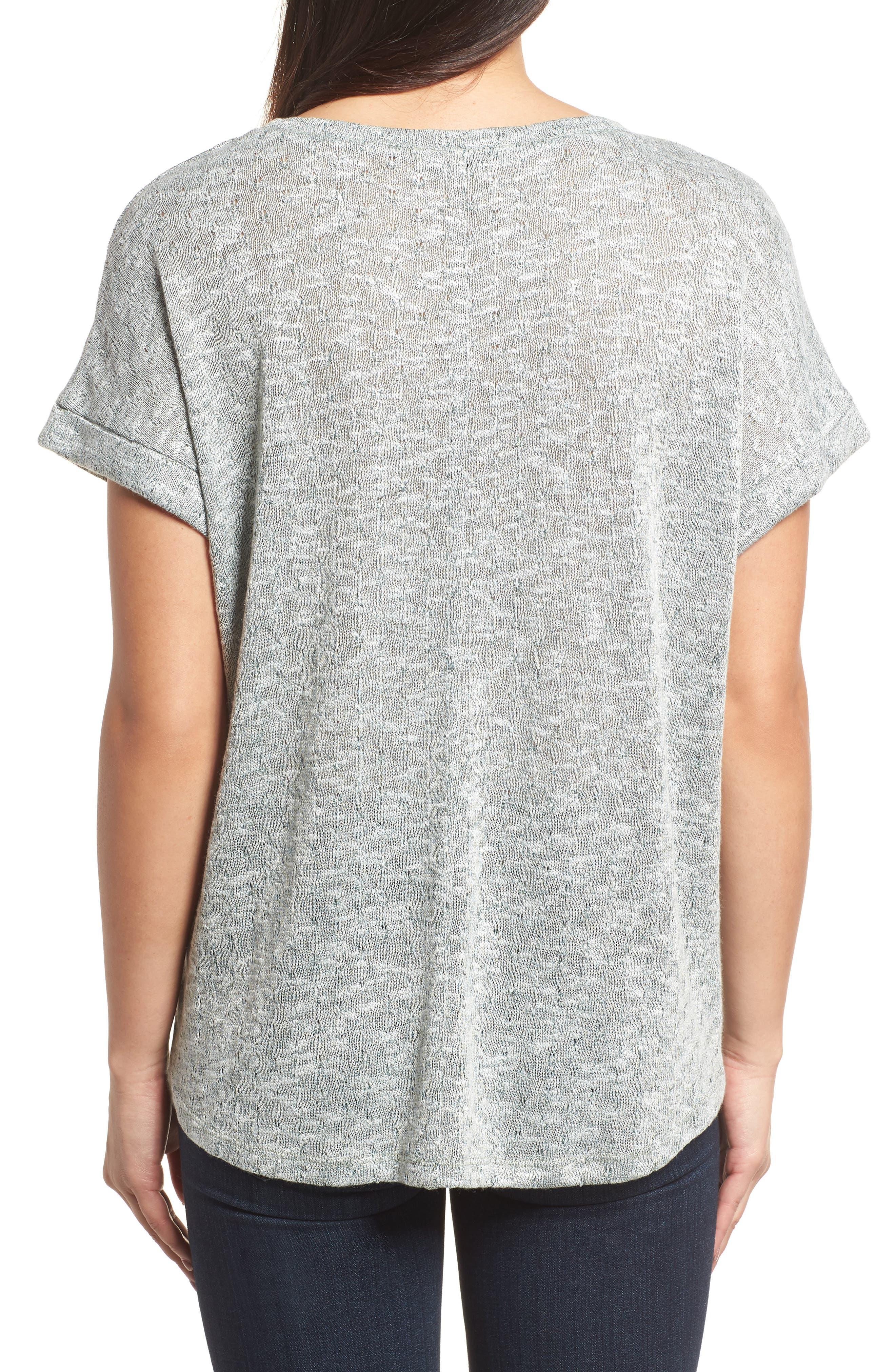 Marled Knit Short Sleeve Top,                             Alternate thumbnail 2, color,