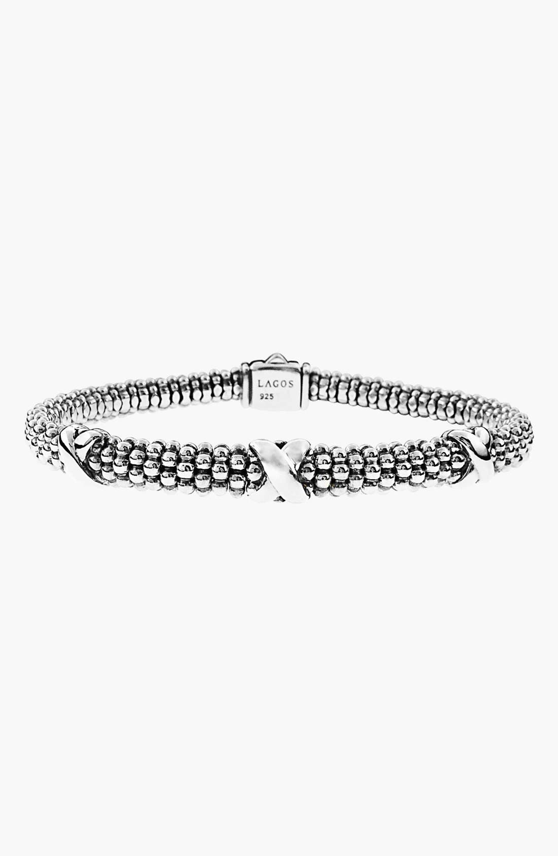 'Signature Caviar' Mini Oval Rope Bracelet,                             Alternate thumbnail 4, color,                             STERLING SILVER