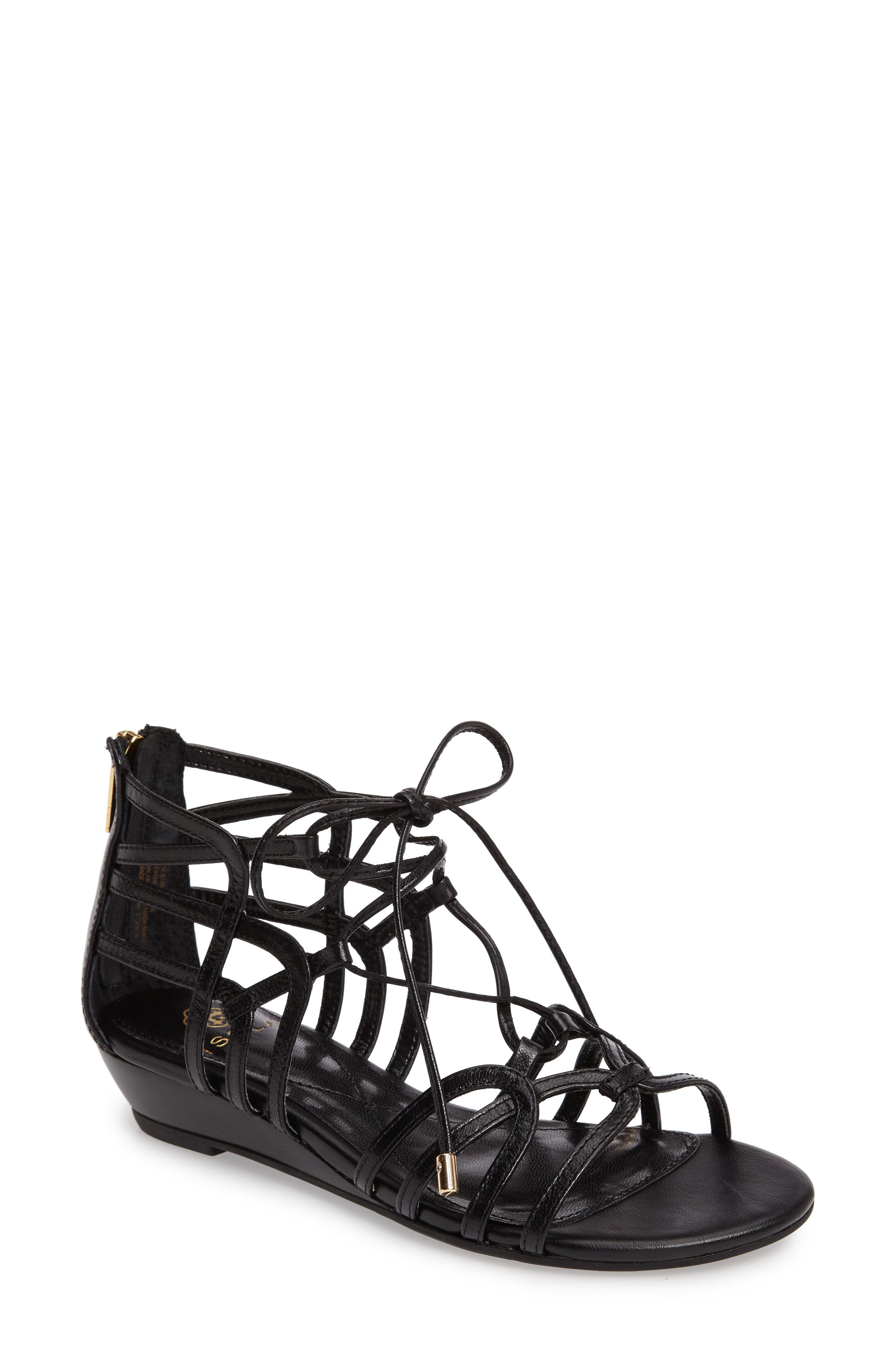 Elisia Lace-Up Sandal,                             Main thumbnail 1, color,                             BLACK LEATHER