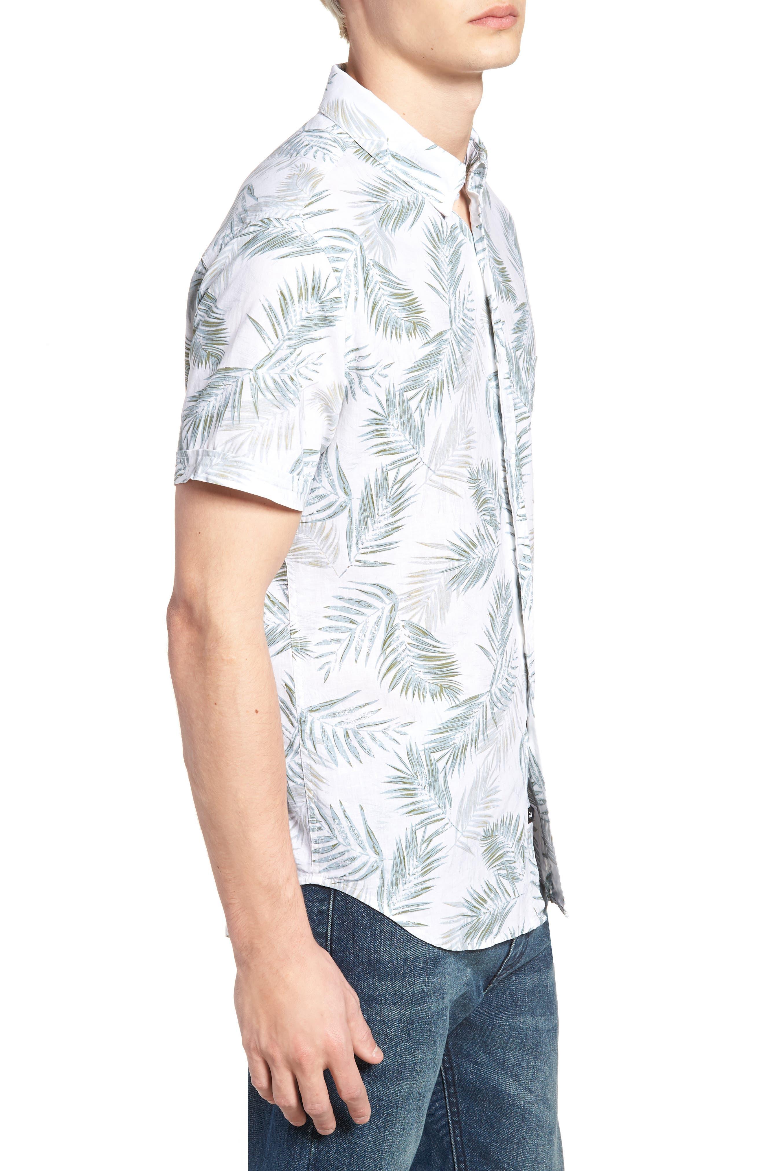 Carson Slim Fit Fern Print Sport Shirt,                             Alternate thumbnail 3, color,                             900