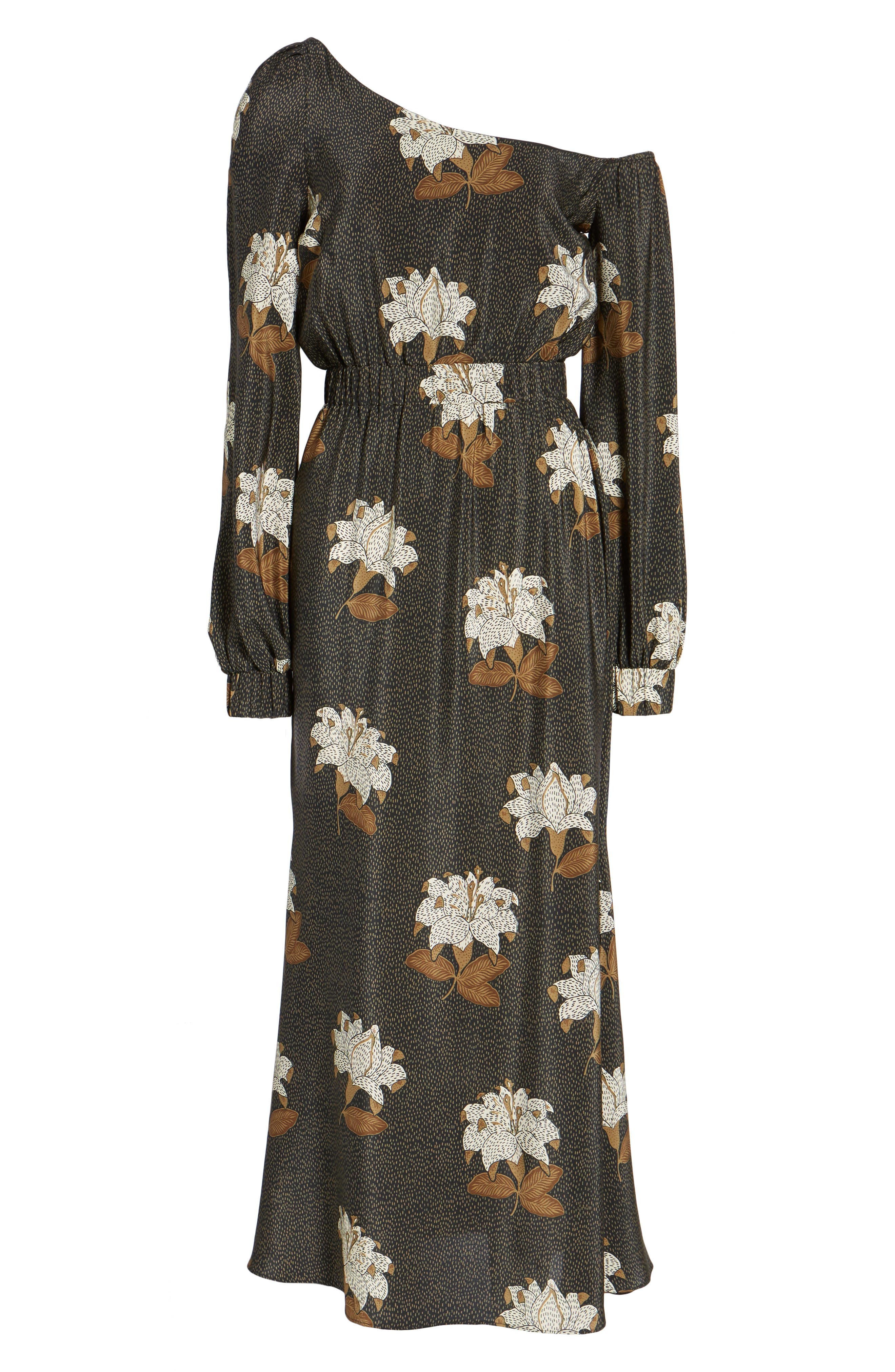 Johnny One-Shoulder Silk Dress,                             Alternate thumbnail 6, color,                             001