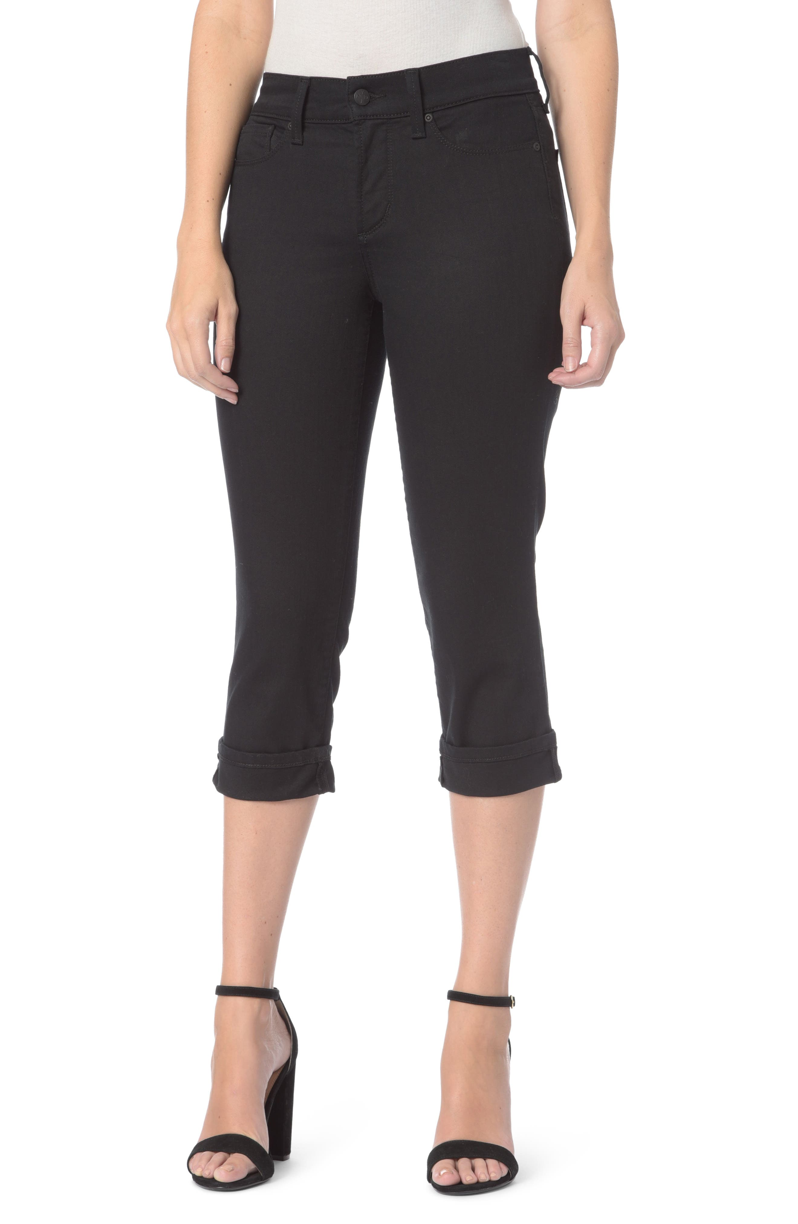 Marilyn Stretch Cuffed Crop Jeans,                             Main thumbnail 1, color,                             001
