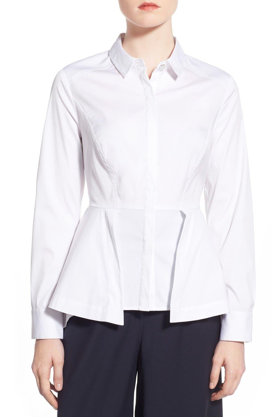 Poplin Peplum Shirt, Main, color, 100