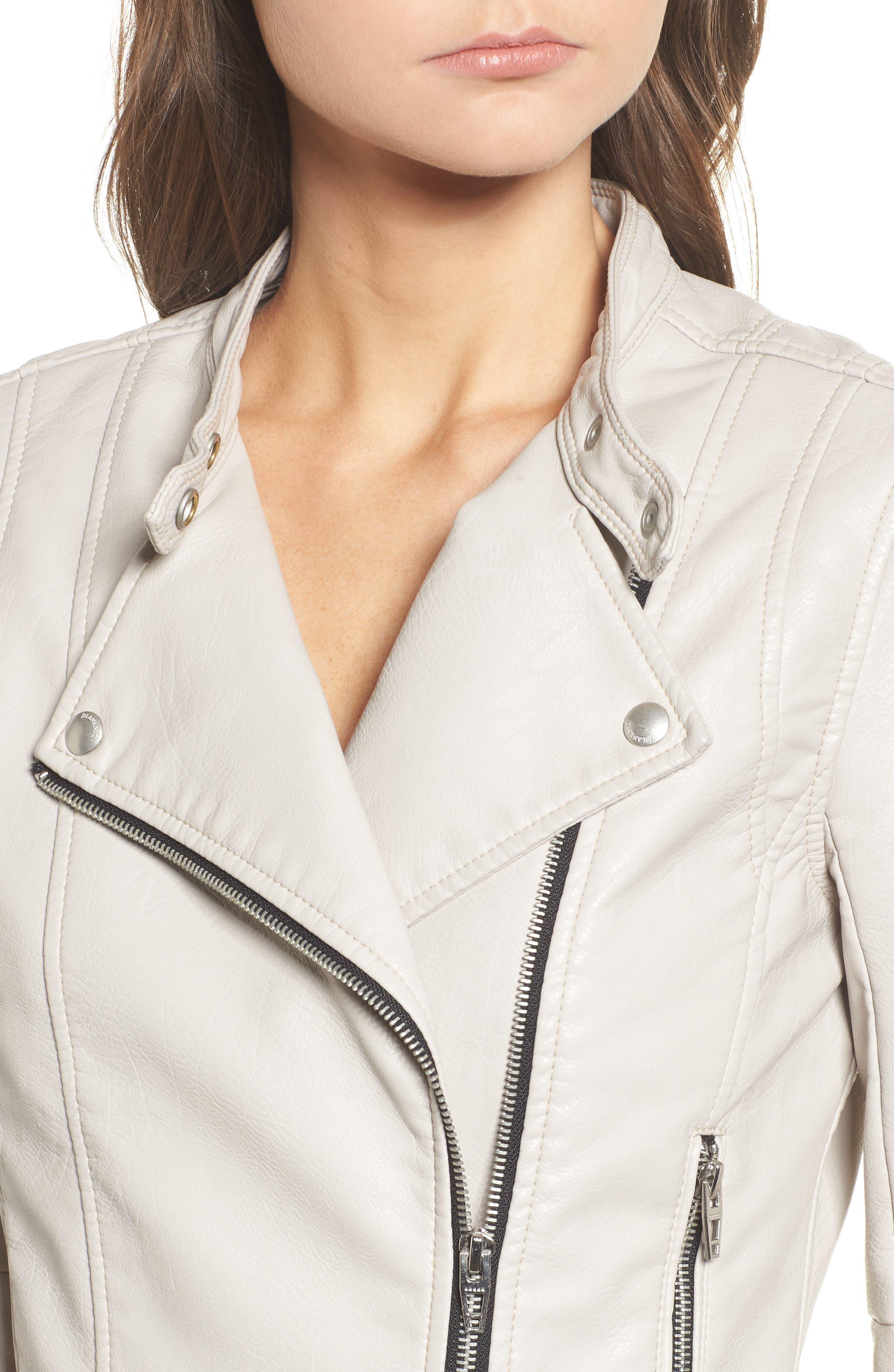 Faux Leather Ruffle Hem Moto Jacket,                             Alternate thumbnail 4, color,                             250