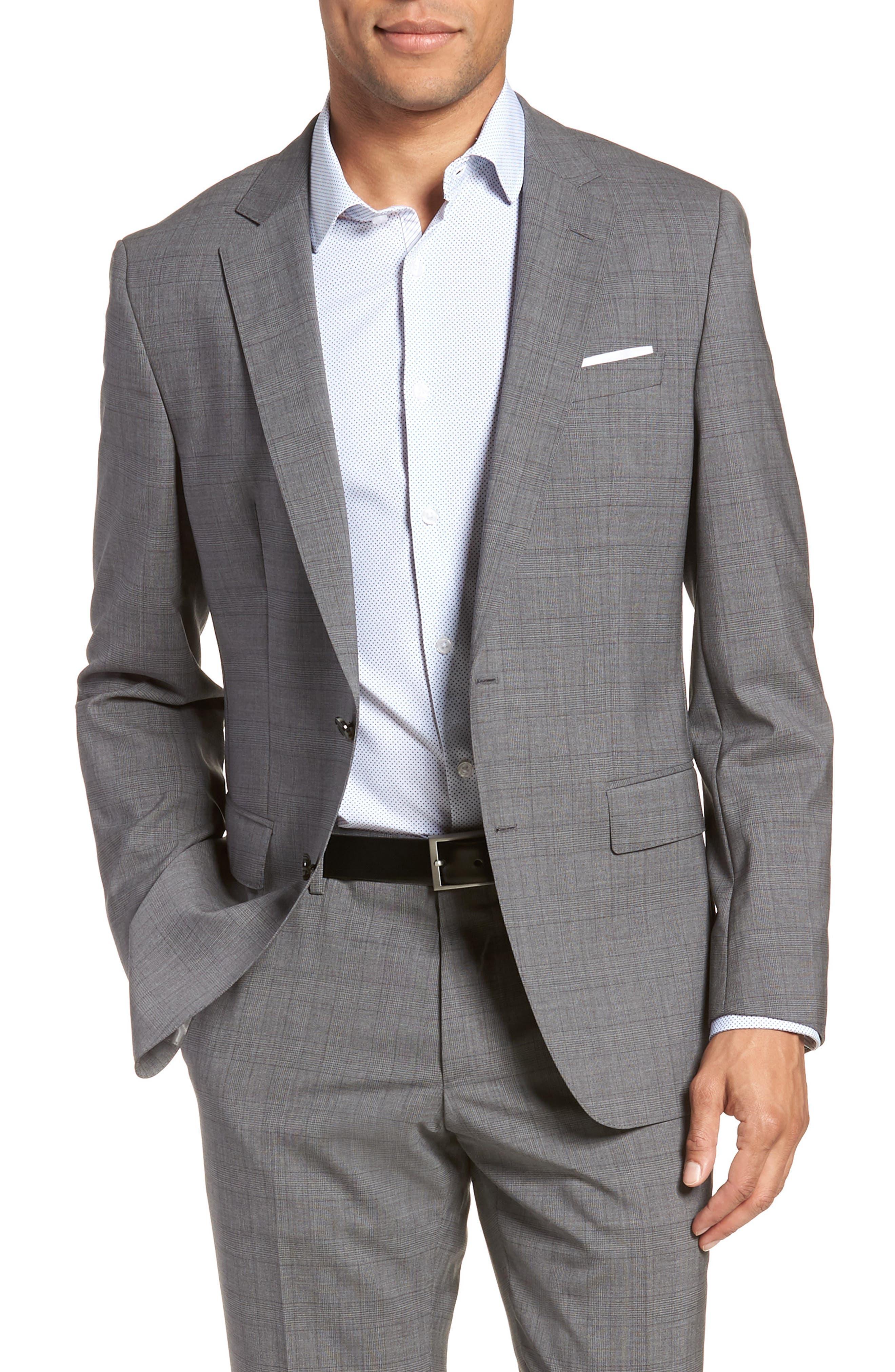 Huge/Genius Trim Fit Plaid Wool Suit,                             Alternate thumbnail 5, color,                             GREY