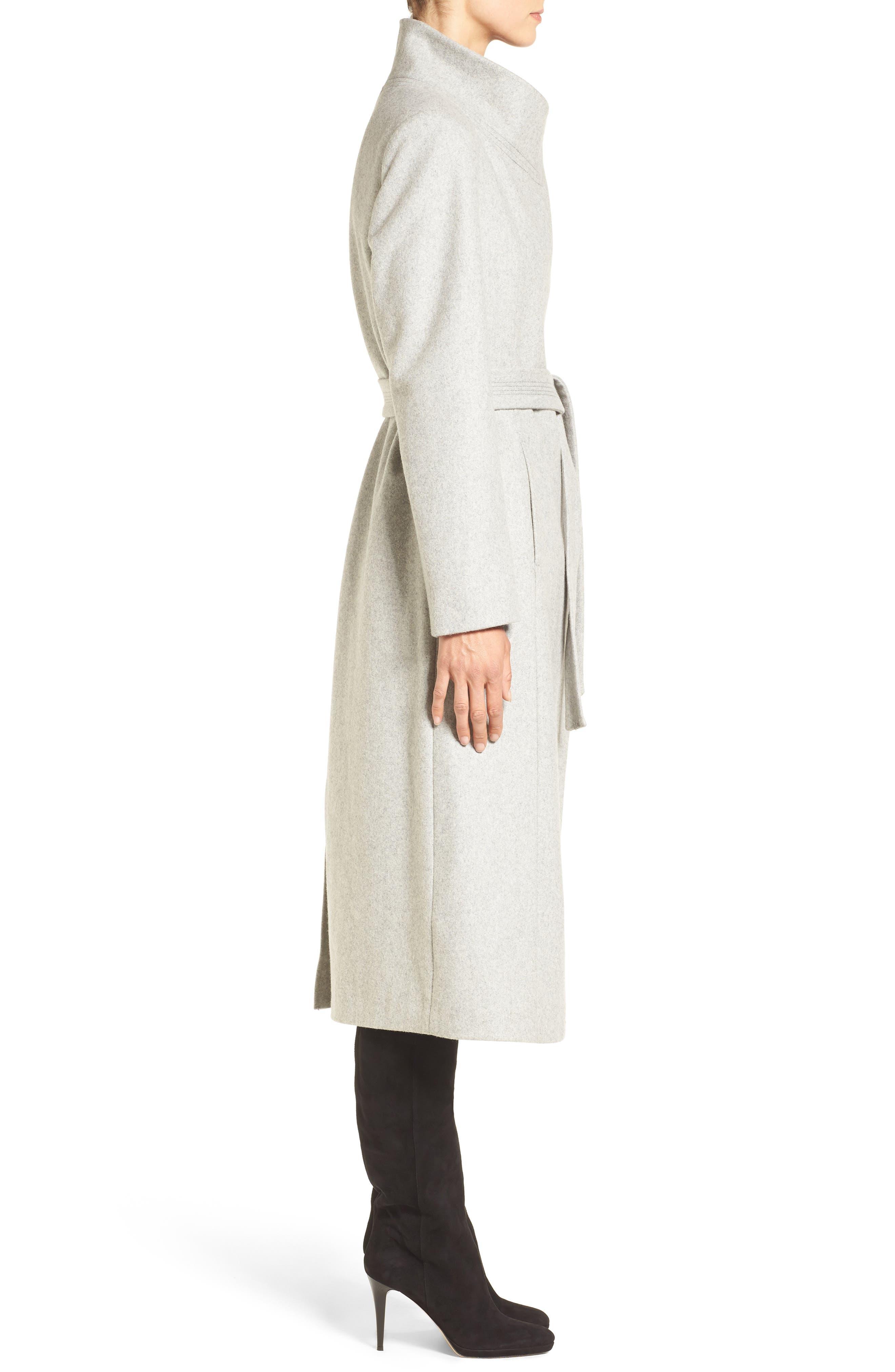 Fencer Melton Wool Maxi Coat,                             Alternate thumbnail 3, color,                             GLACIER