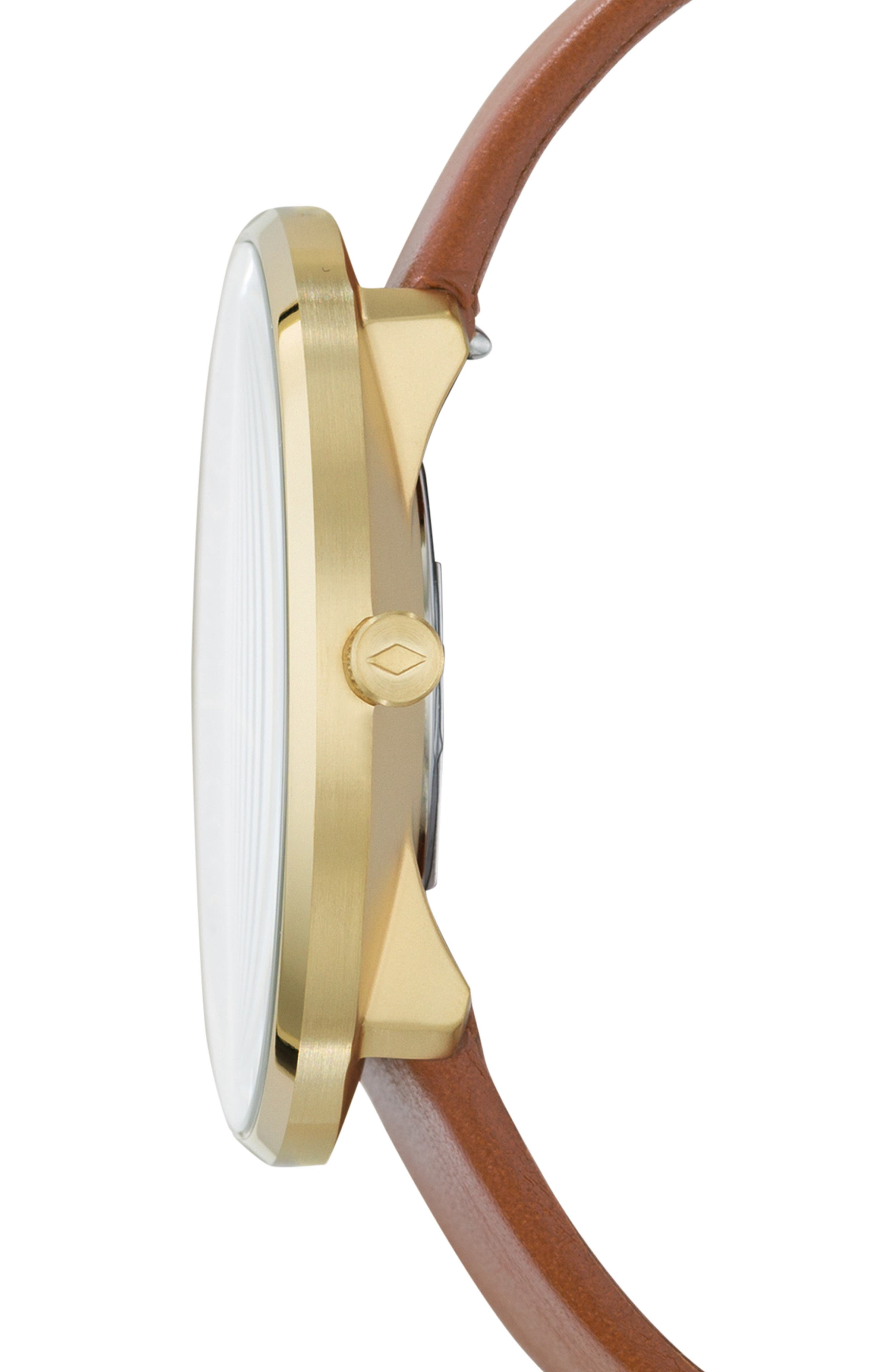 Essentialist Leather Strap Watch, 42mm,                             Alternate thumbnail 2, color,                             BROWN/ BLUE/ GOLD