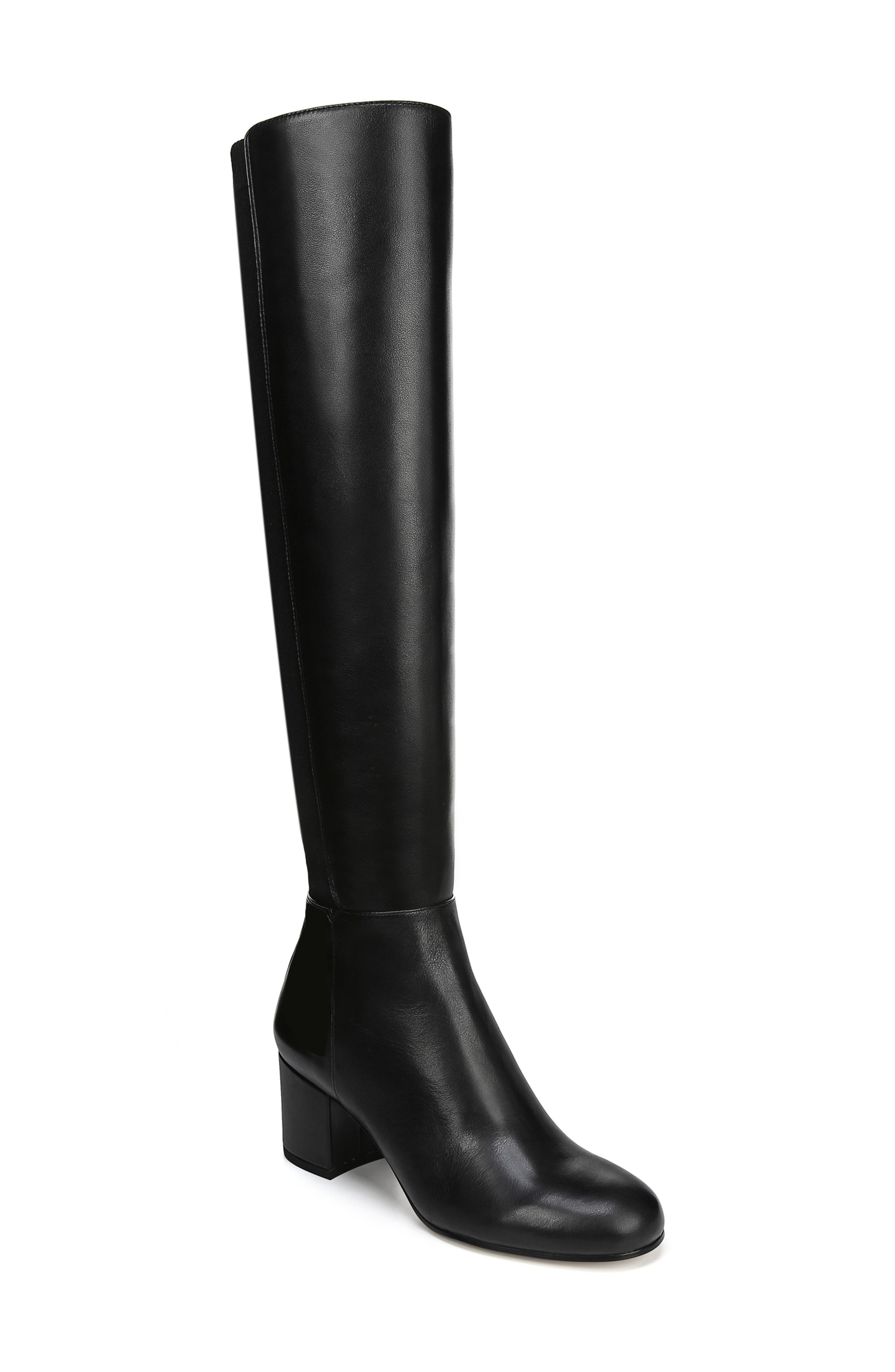 Valda Knee High Boot,                         Main,                         color, BLACK LEATHER