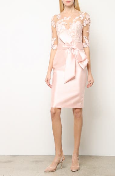 Badgley Mischka Lace Accent Bow Cocktail Dress, video thumbnail