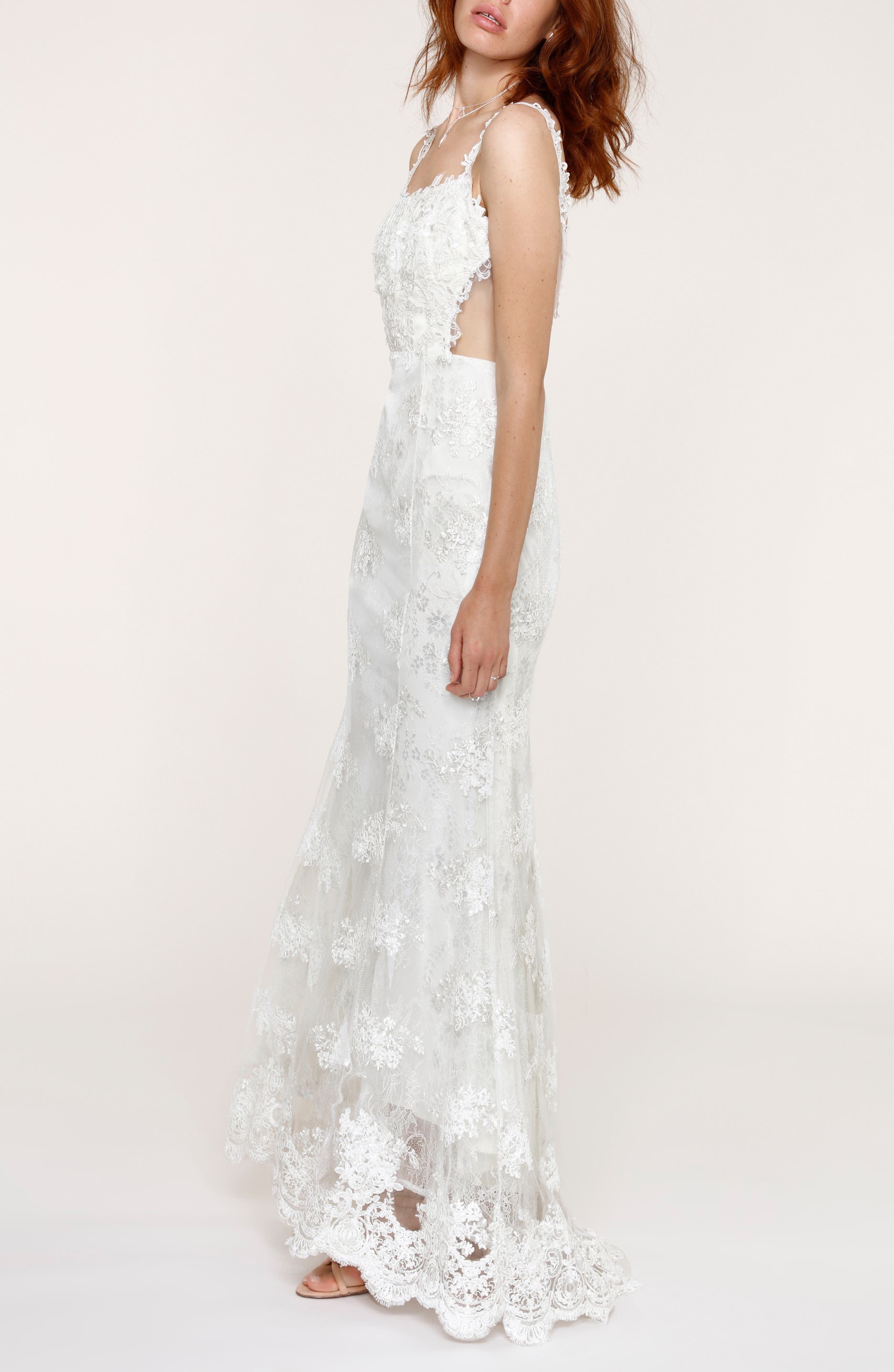 Andie Illusion Side Lace Mermaid Gown,                             Alternate thumbnail 3, color,                             900