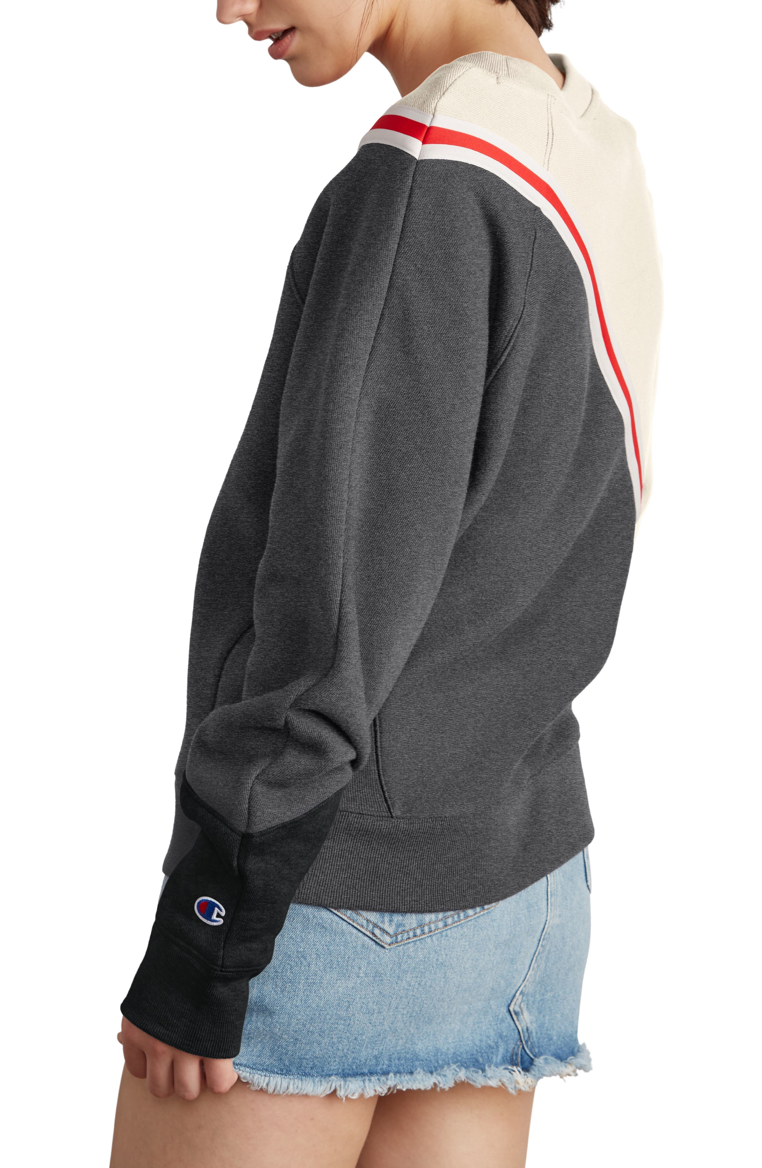 Colorblock Reverse Fleece Sweatshirt,                             Alternate thumbnail 3, color,                             QUARTZ CRM/GRANITE/BLACK
