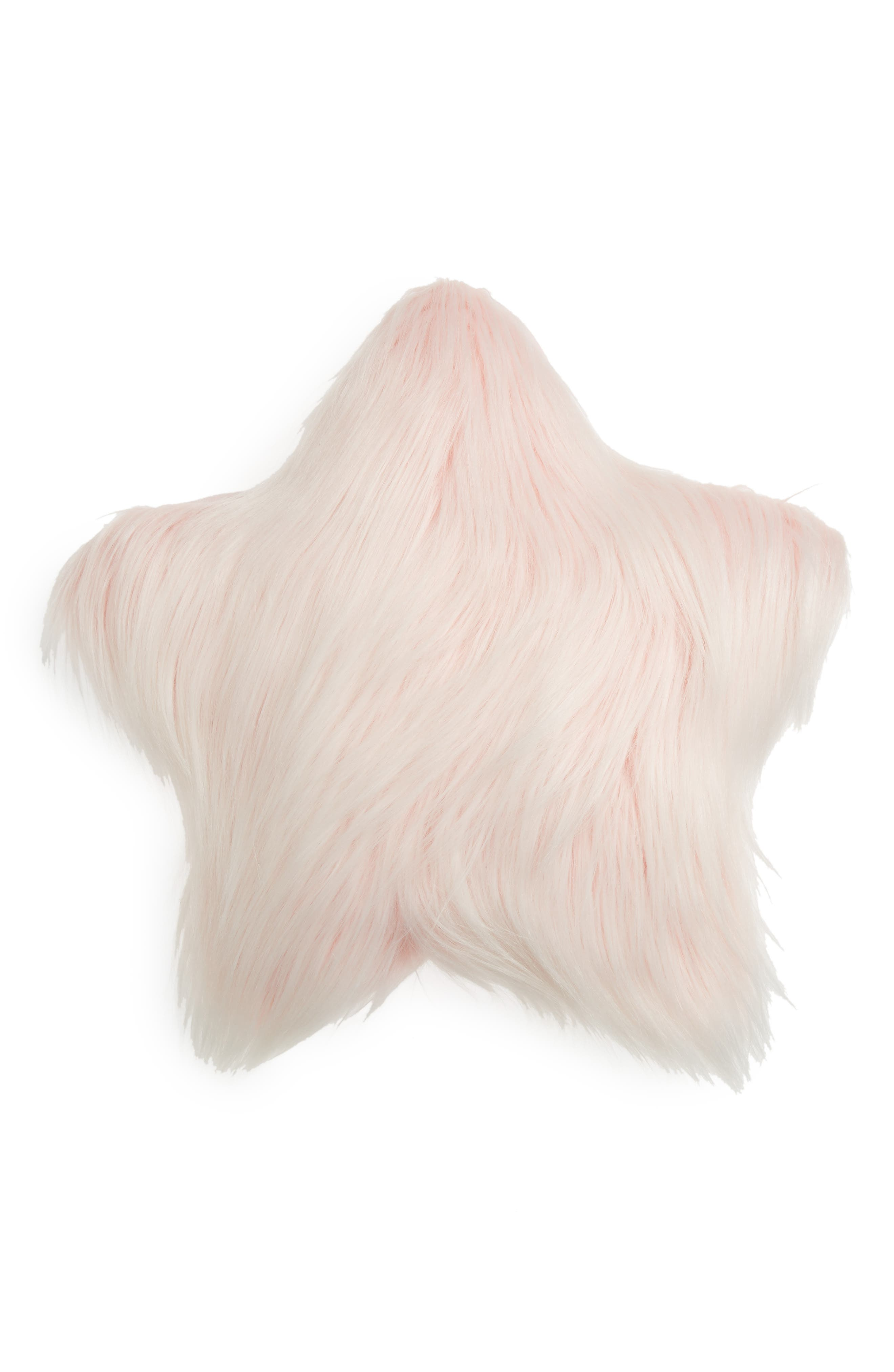 Flip Sequin/Faux Fur Reversible Star Accent Pillow,                             Alternate thumbnail 2, color,                             PINK COMBO