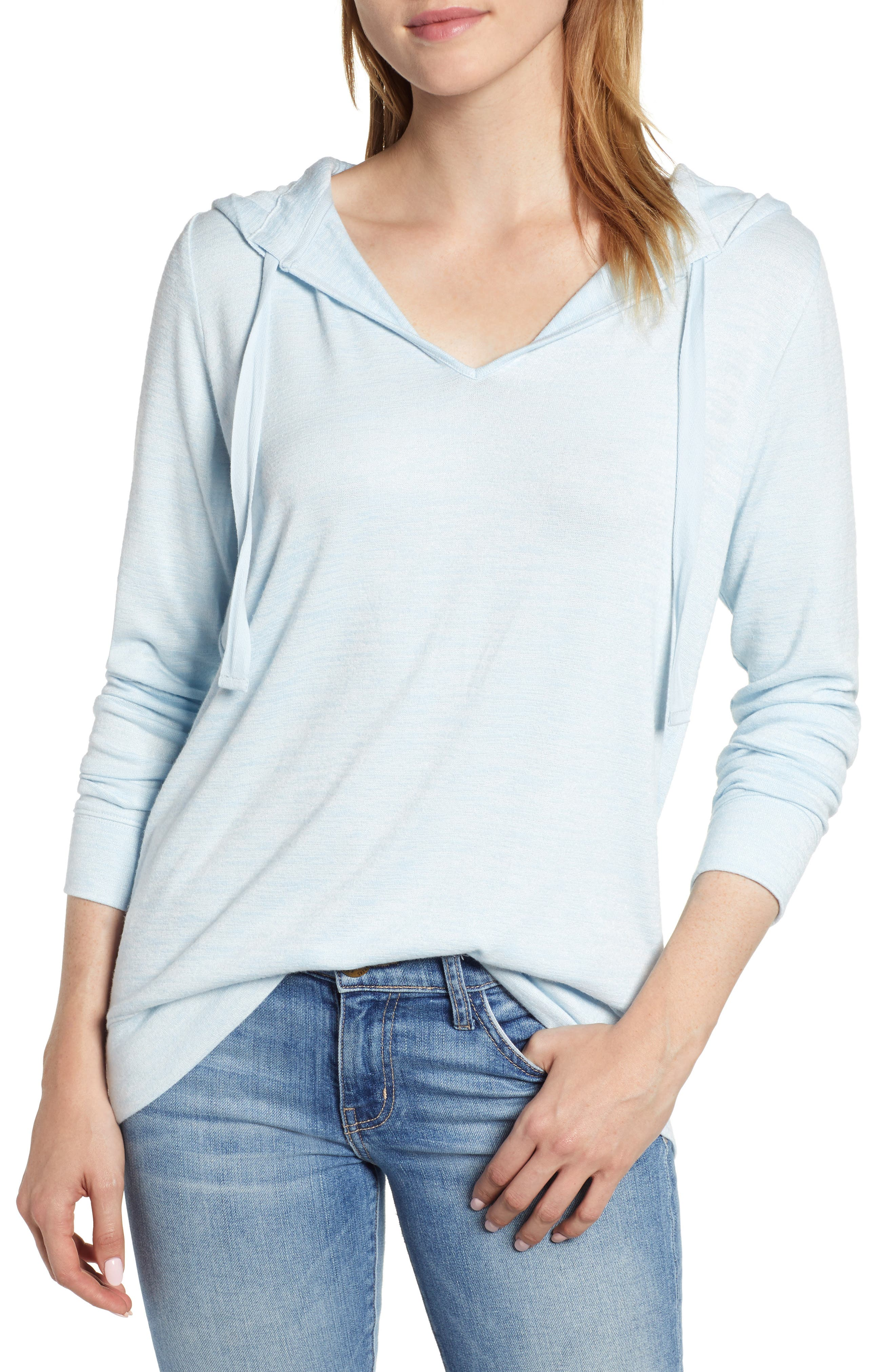 Soft Jersey Hoodie Top,                             Main thumbnail 1, color,                             BLUE