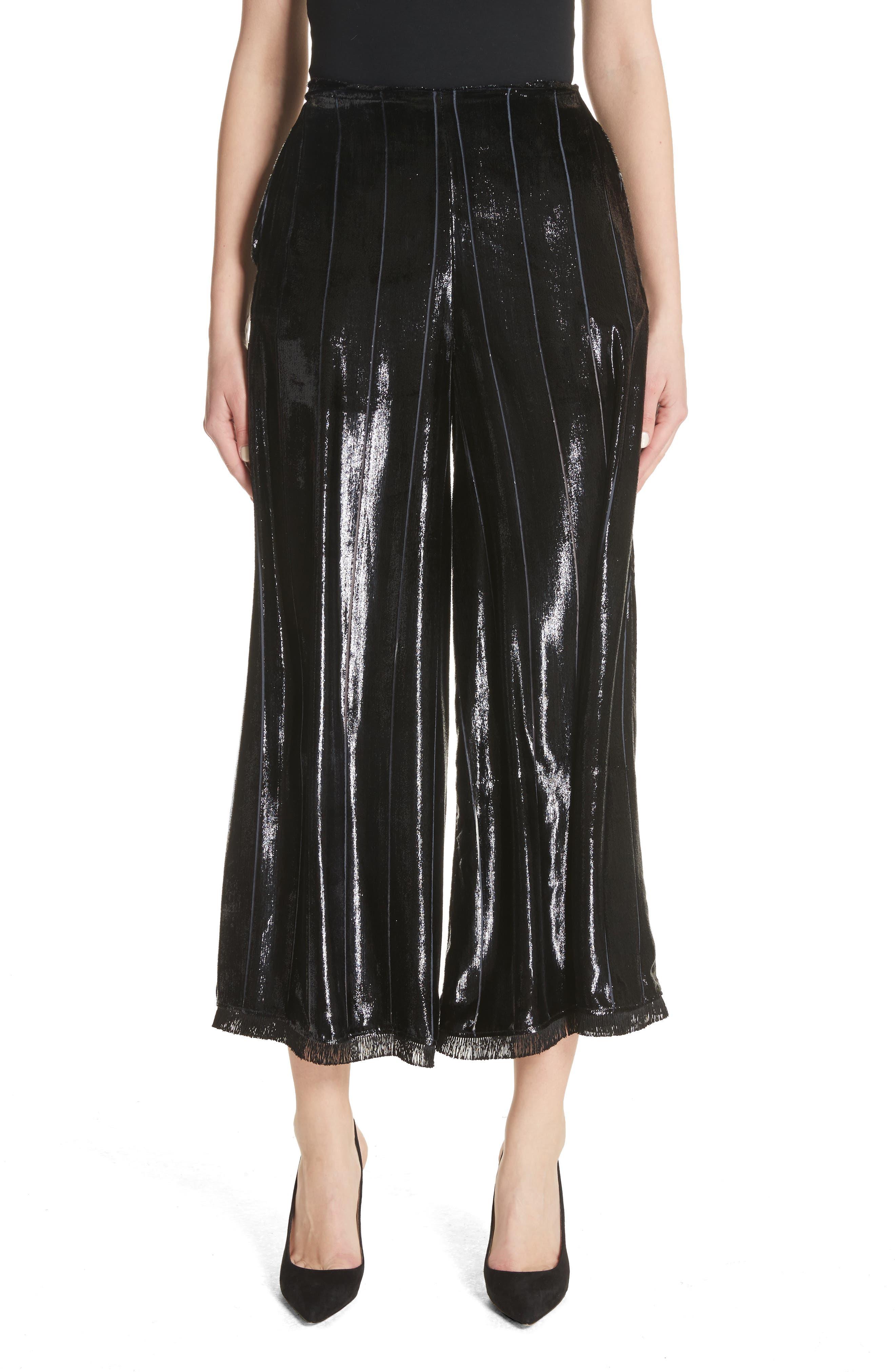 Metallic Silk Blend Culottes,                             Main thumbnail 1, color,                             001