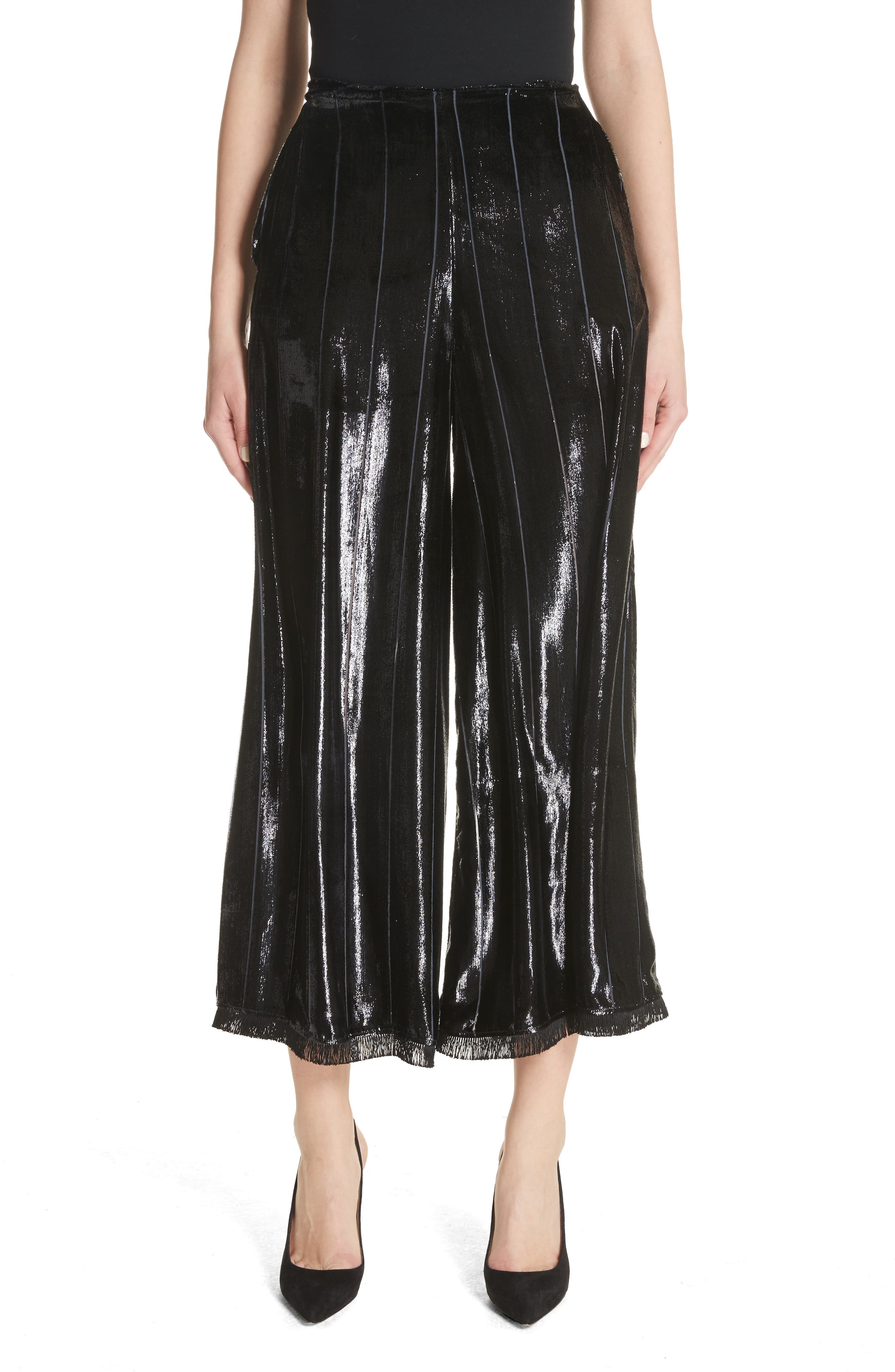 Metallic Silk Blend Culottes,                         Main,                         color,