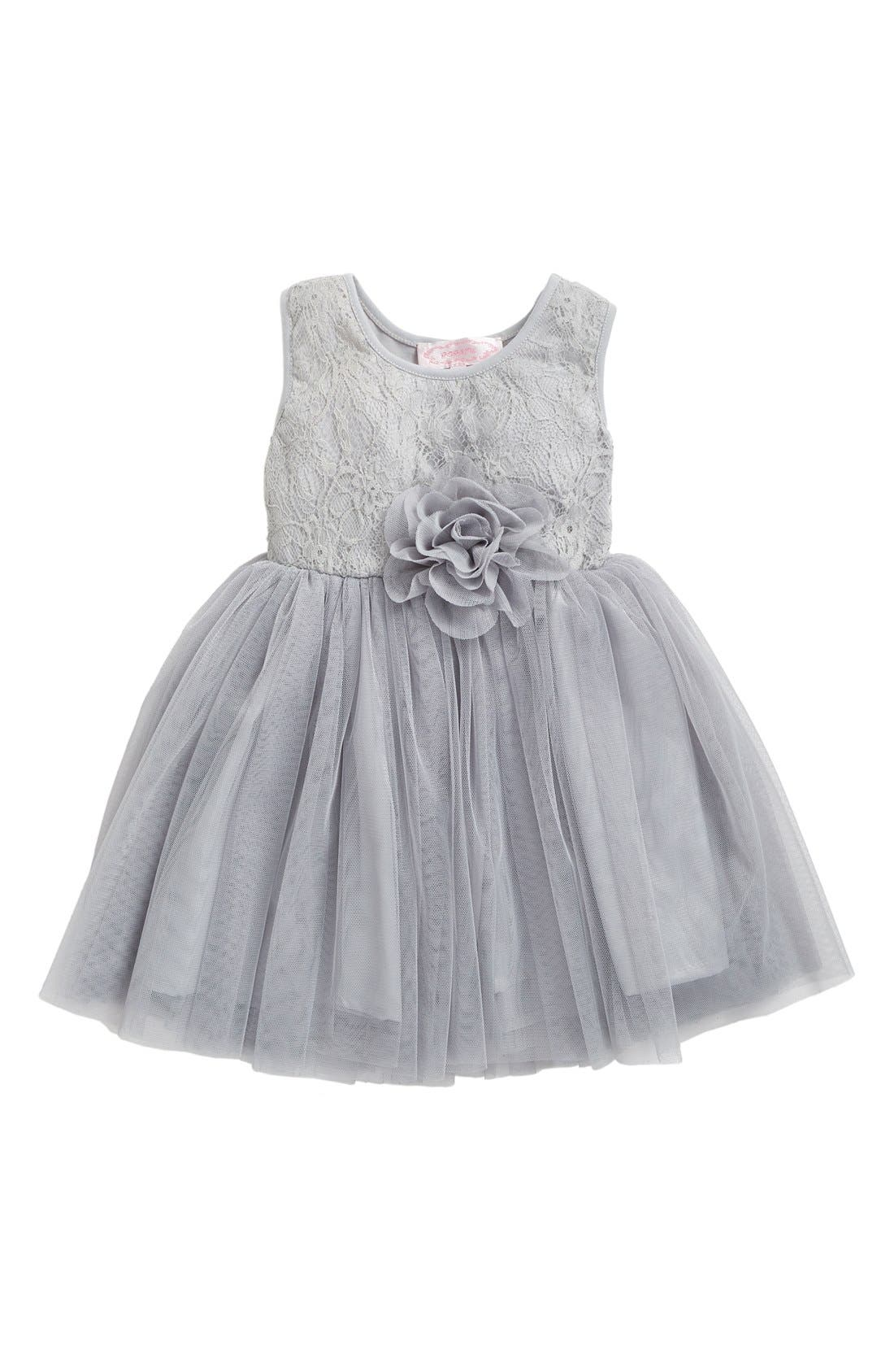 Floral Lace & Tulle Dress,                             Main thumbnail 1, color,                             SILVER
