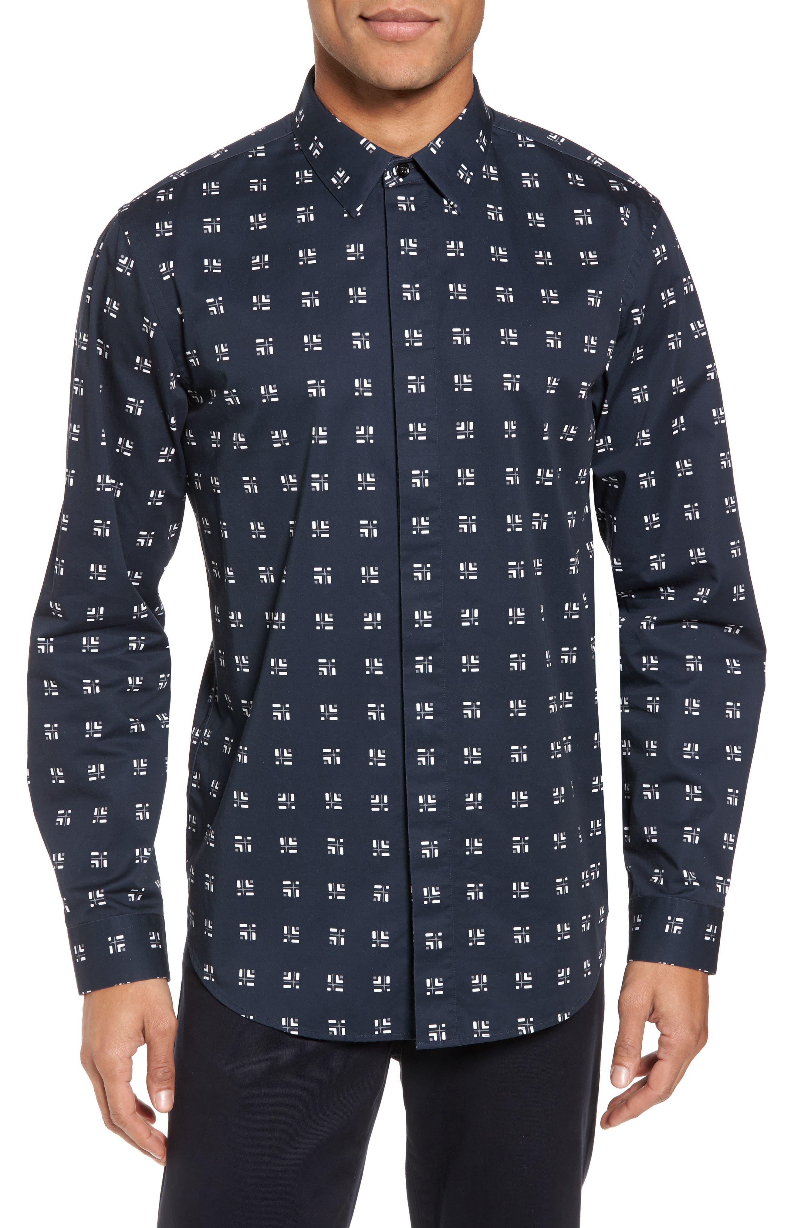 Levy Cross Box Regular Fit Sport Shirt,                         Main,                         color,