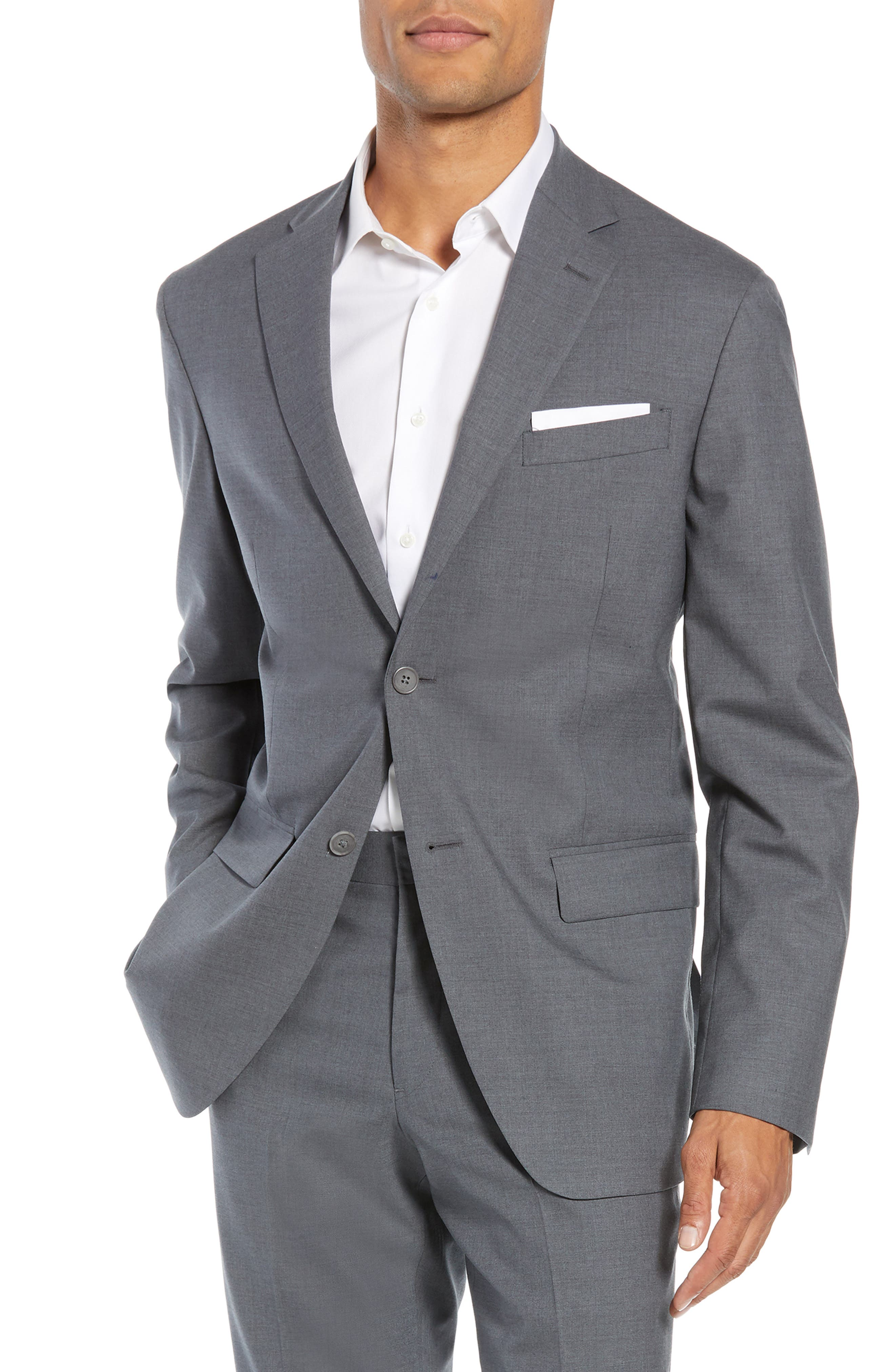 NORDSTROM MEN'S SHOP Tech-Smart Trim Fit Stretch Wool Travel Sport Coat, Main, color, GREY