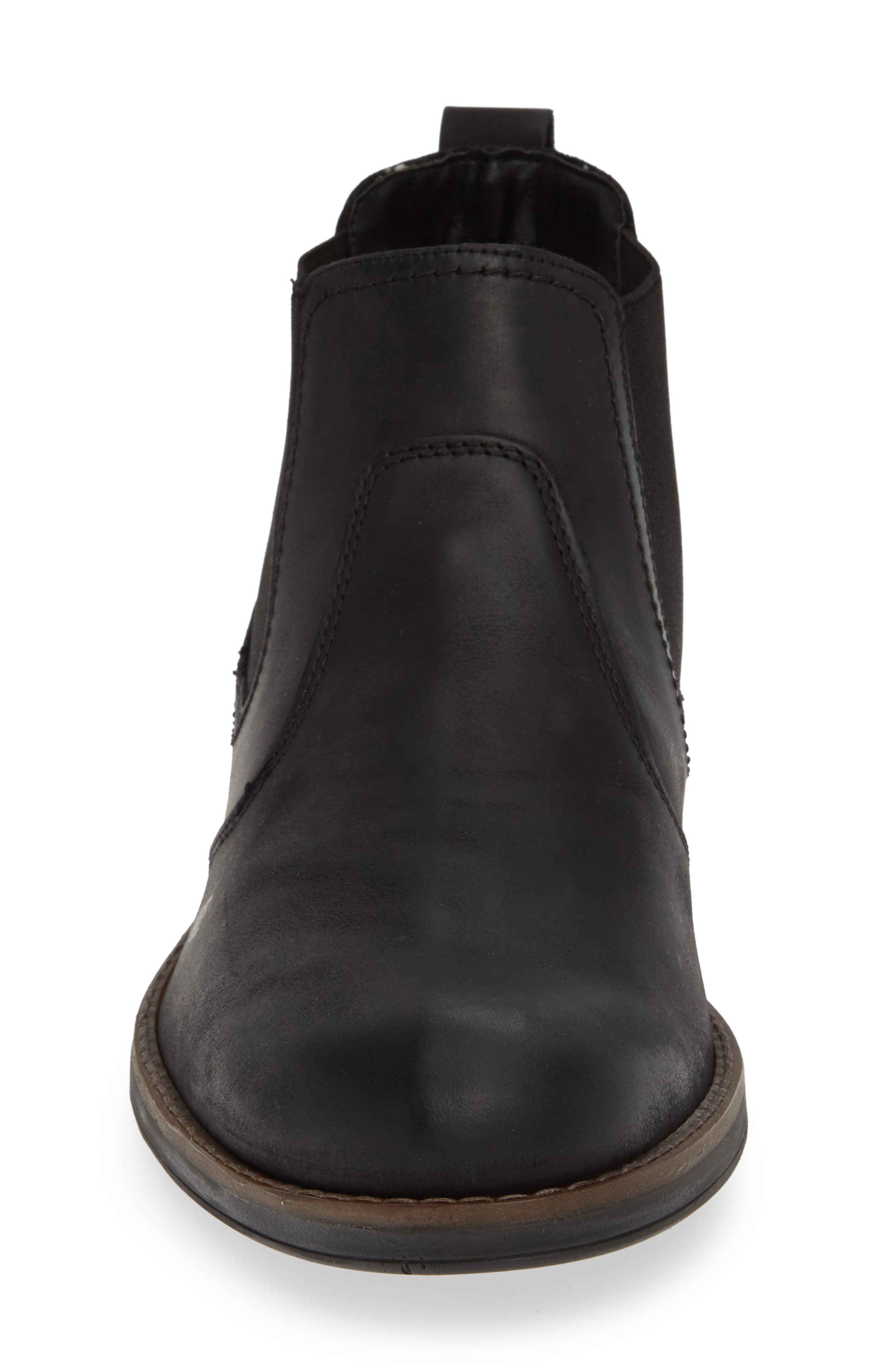 Maple Waterproof Chelsea Boot,                             Alternate thumbnail 4, color,                             BLACK LEATHER