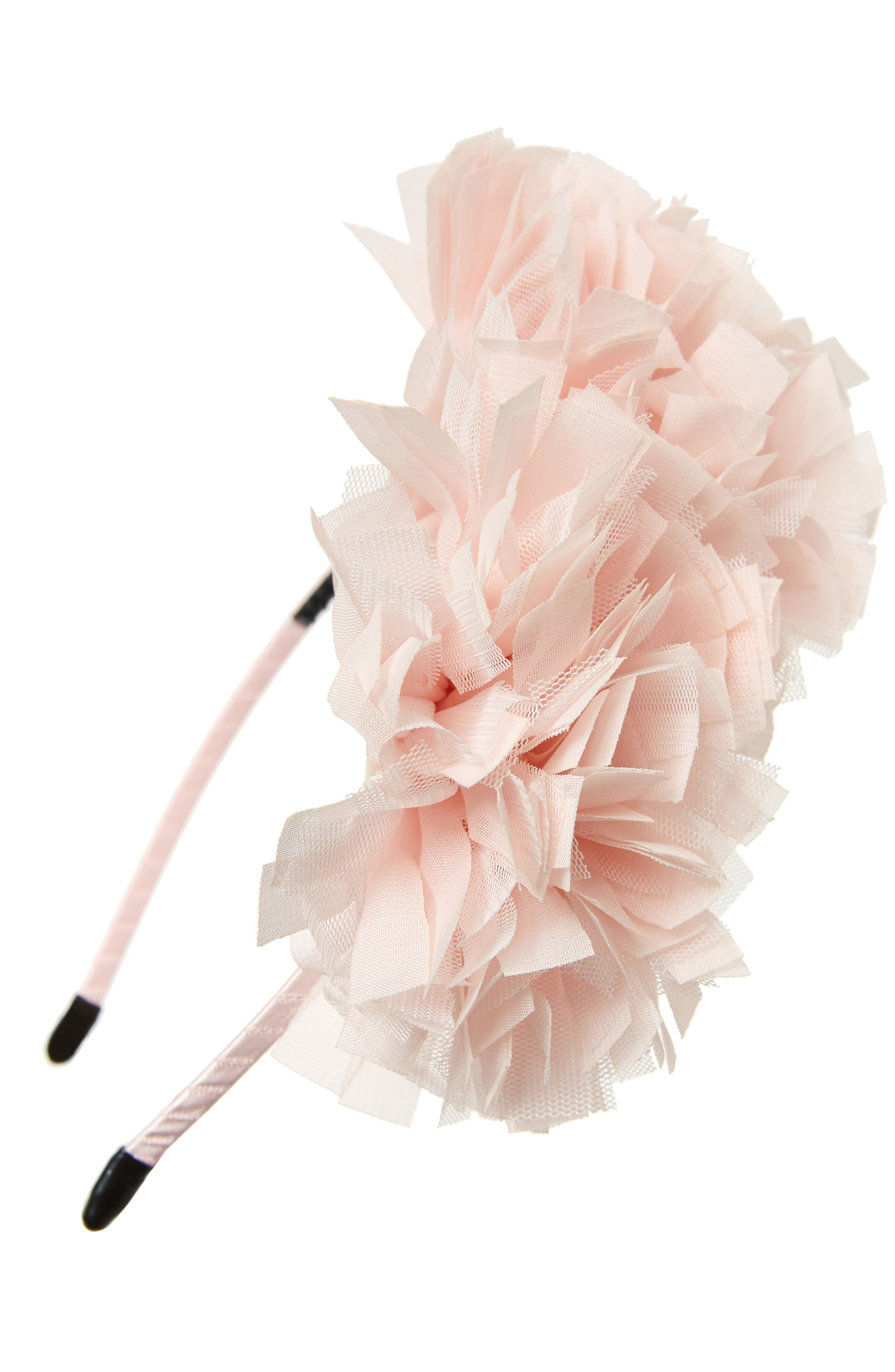 Manière Tulle Flower Headband,                             Main thumbnail 1, color,                             SOFT PINK
