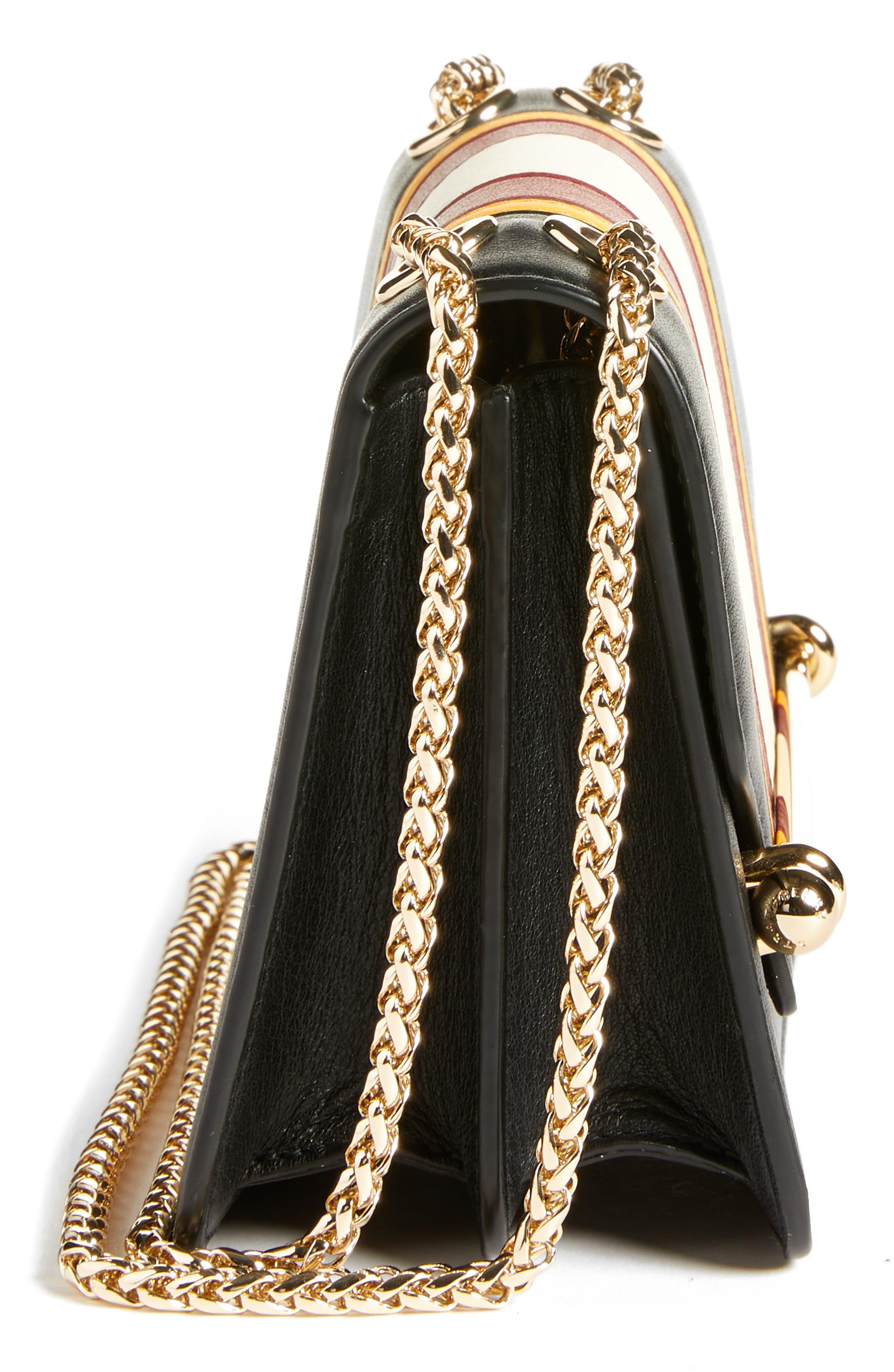 Mini East/West Stripe Leather Crossbody Bag,                             Alternate thumbnail 5, color,                             BLACK