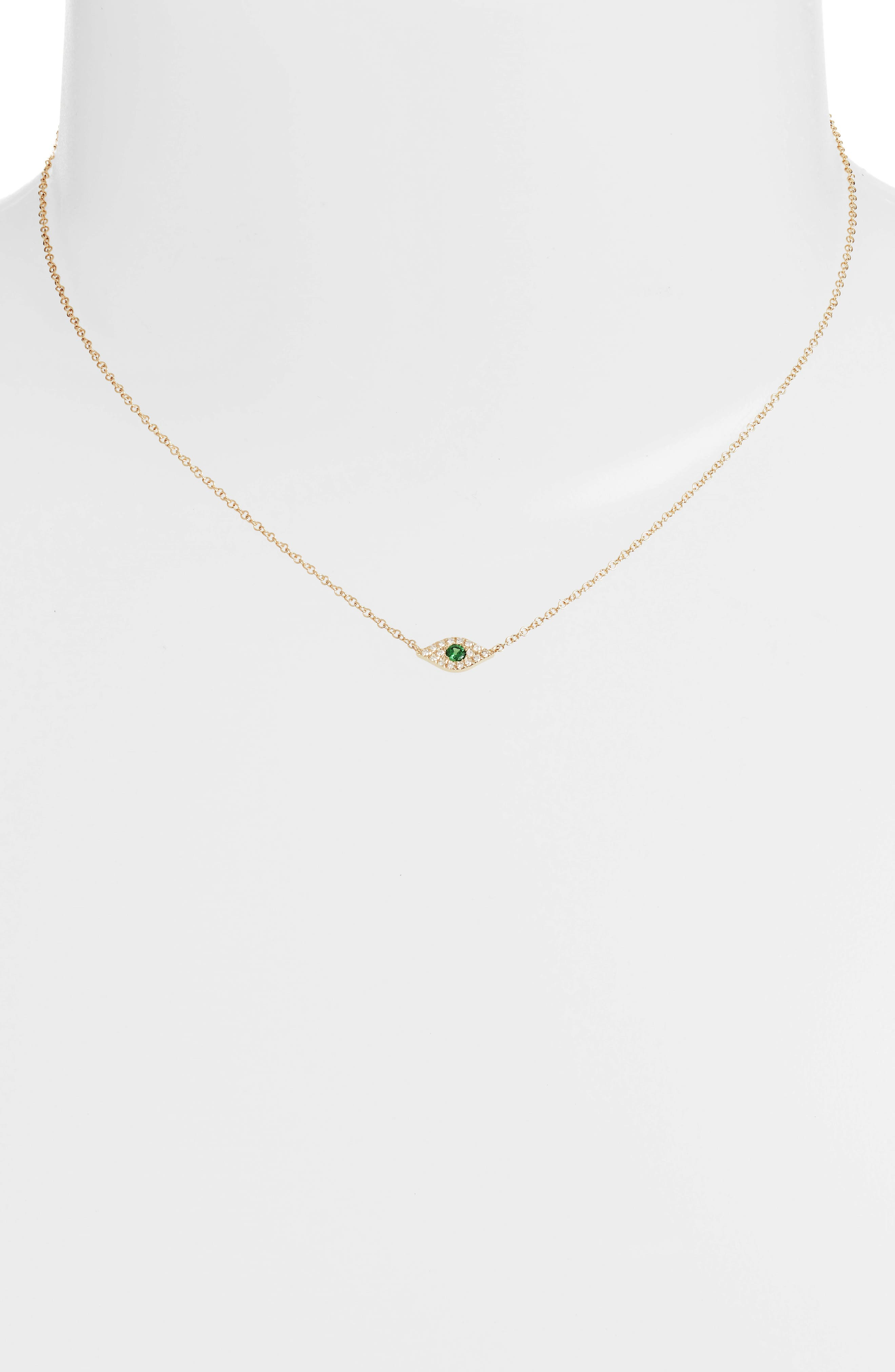 Evil Eye Diamond & Sapphire Pendant Necklace,                             Alternate thumbnail 2, color,                             YELLOW GOLD/ TSAVORITE