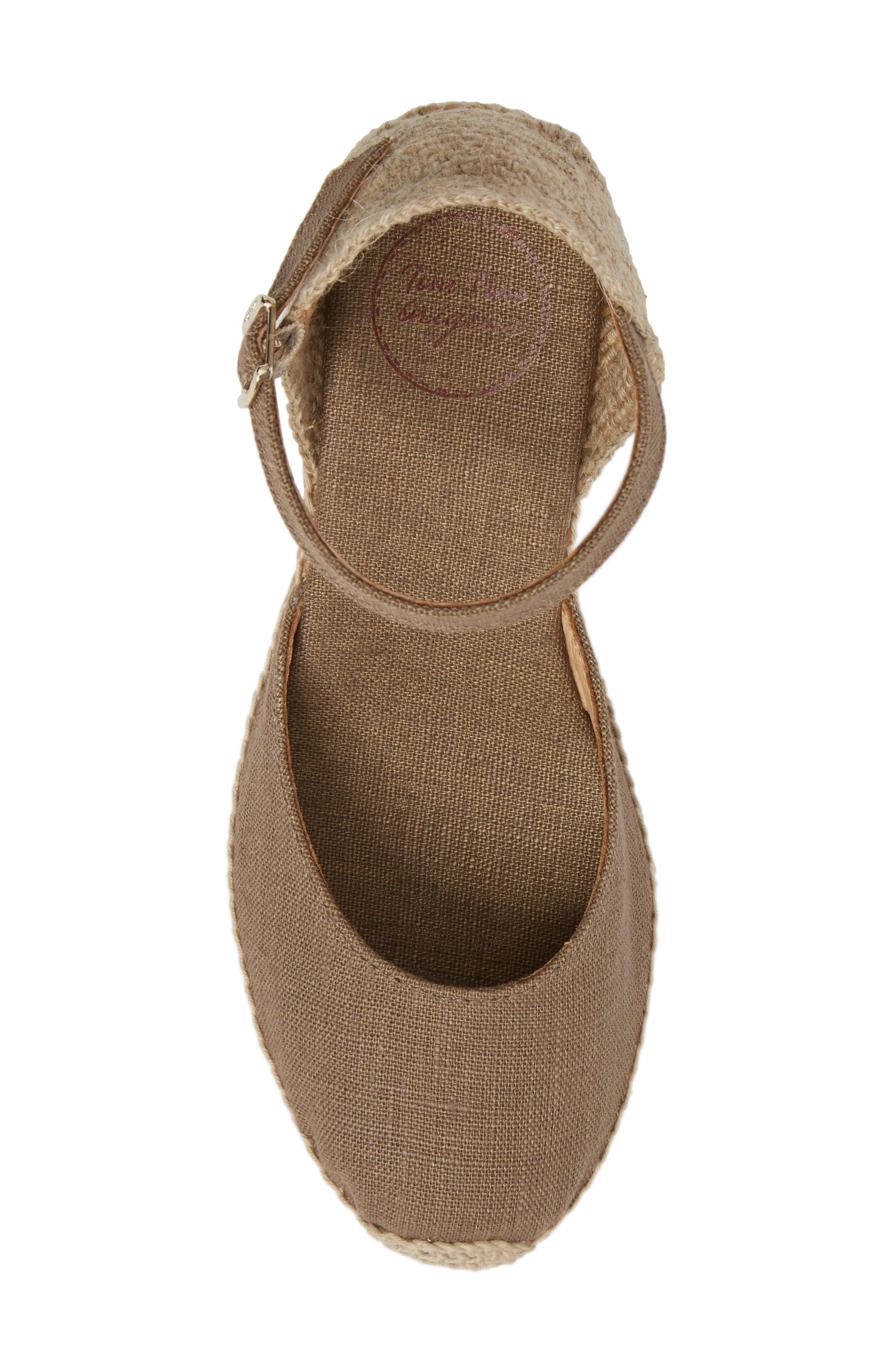 'Caldes' Linen Wedge Sandal,                             Alternate thumbnail 5, color,                             TAUPE FABRIC