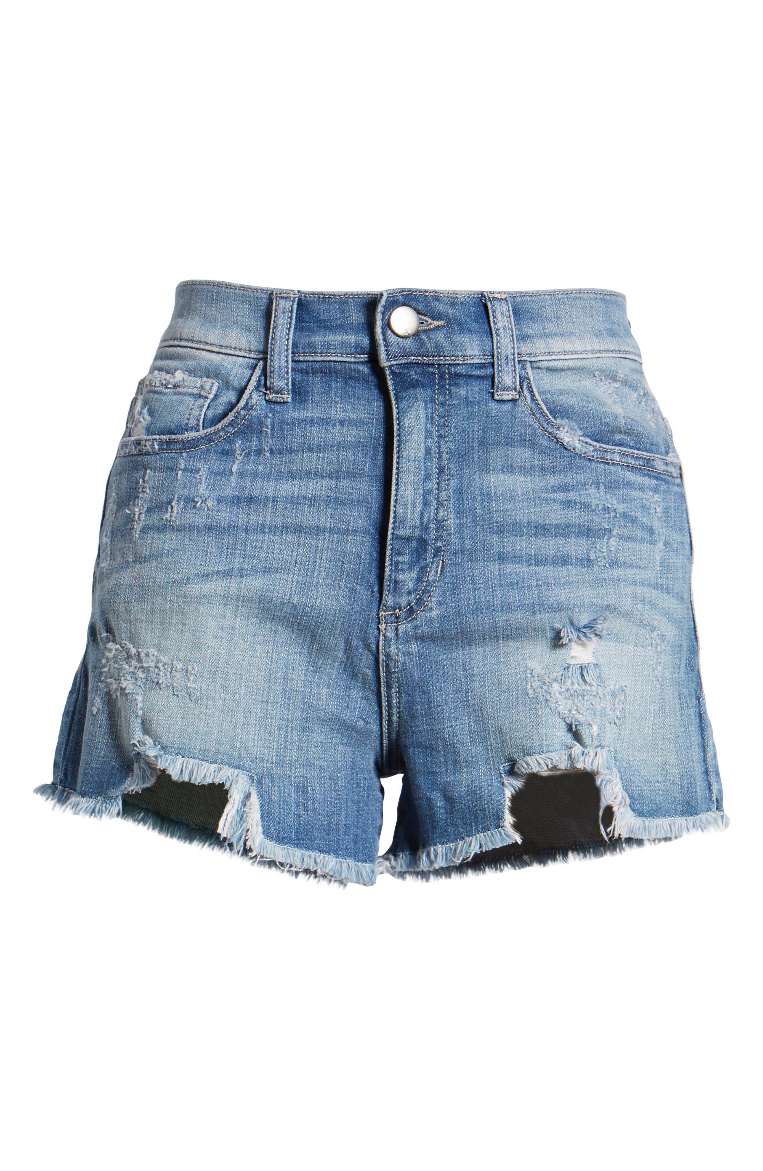 High Waist Frayed Hem Shorts,                             Alternate thumbnail 7, color,