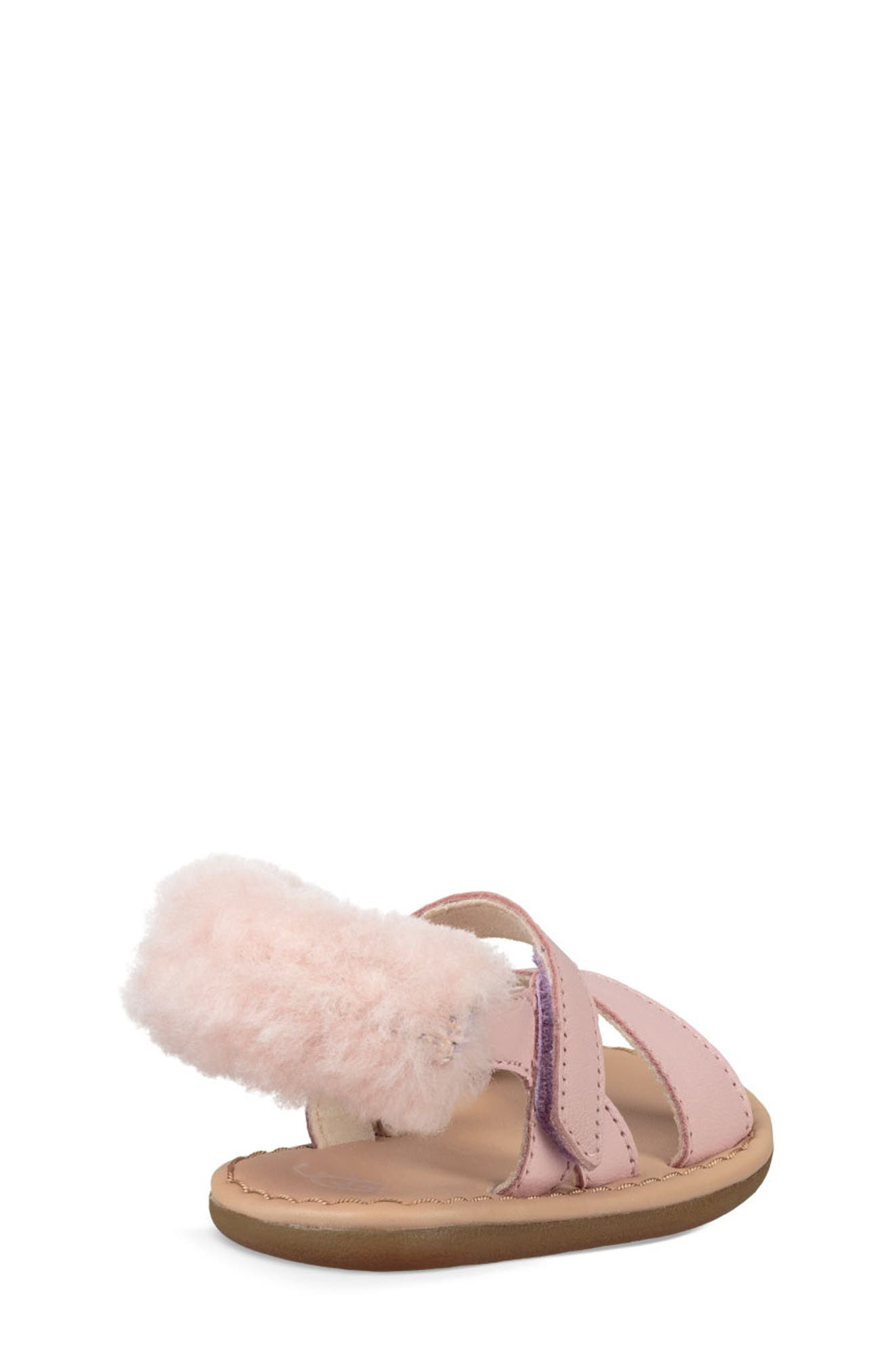 Dorien Genuine Shearling Trim Sandal,                             Alternate thumbnail 2, color,                             PETAL