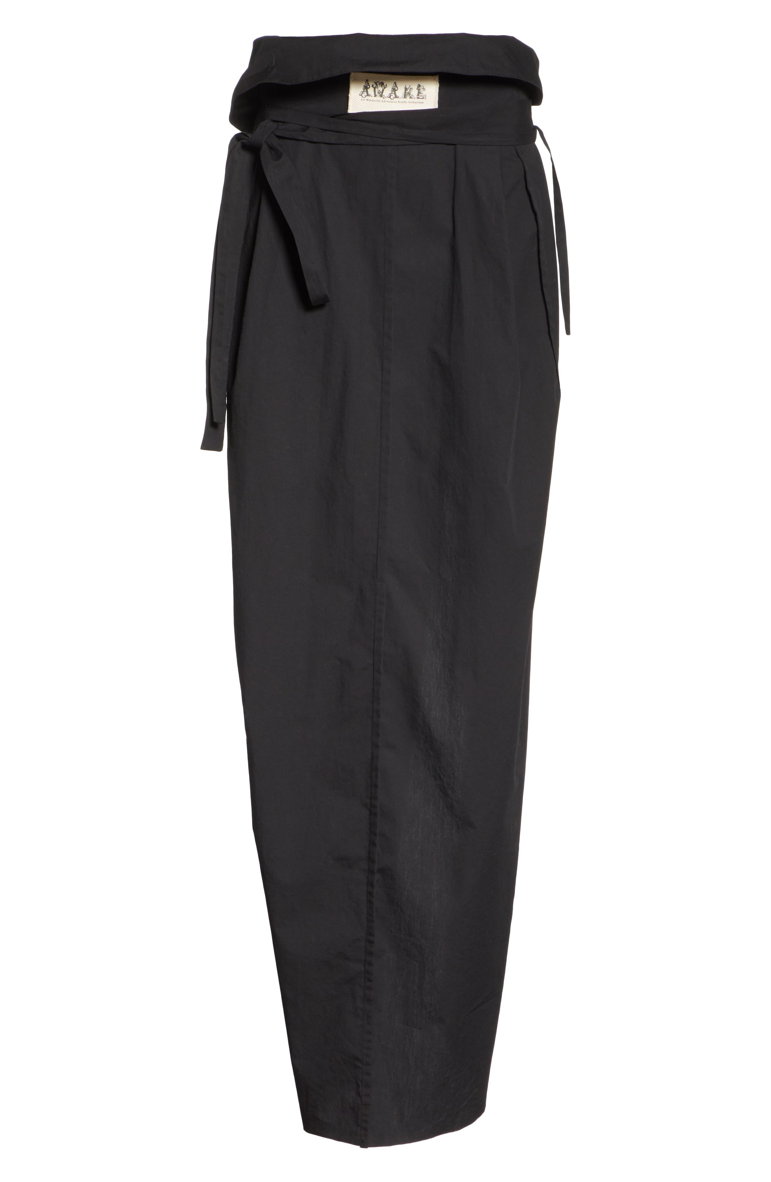 High Waist Wrap Skirt,                             Alternate thumbnail 6, color,                             001