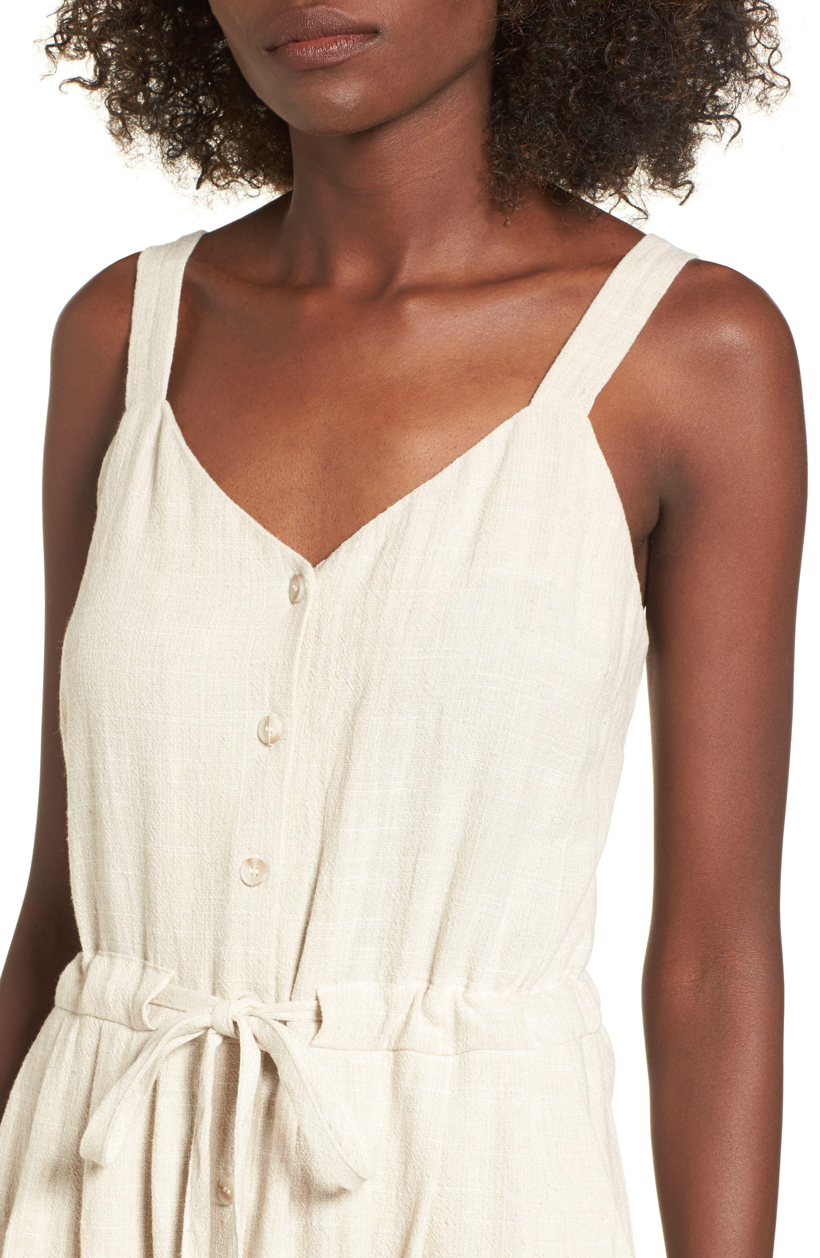 Button Up Drawstring Midi Dress,                             Alternate thumbnail 4, color,                             250
