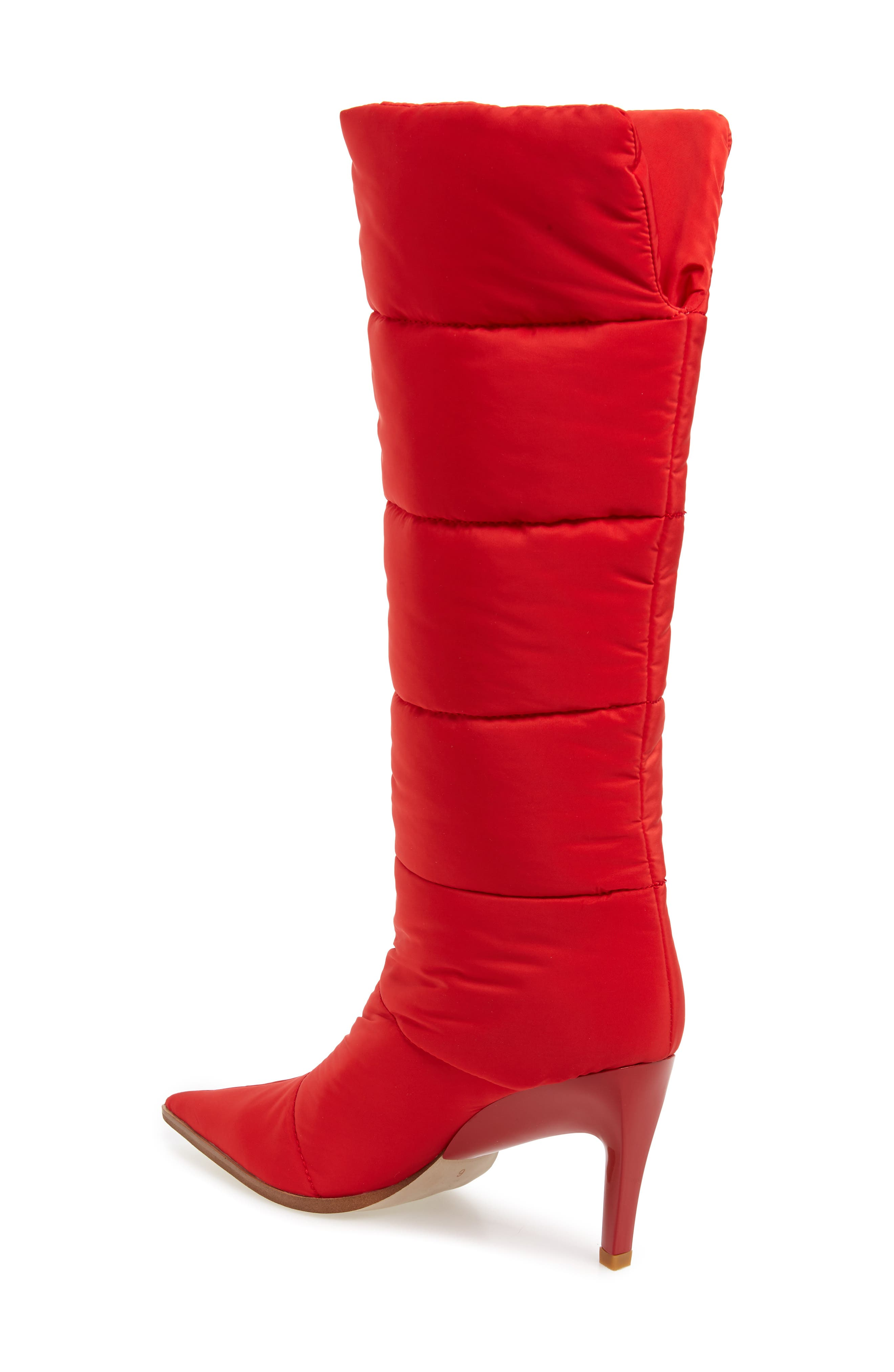 Apris Knee High Puffer Boot,                             Alternate thumbnail 2, color,                             RED FABRIC