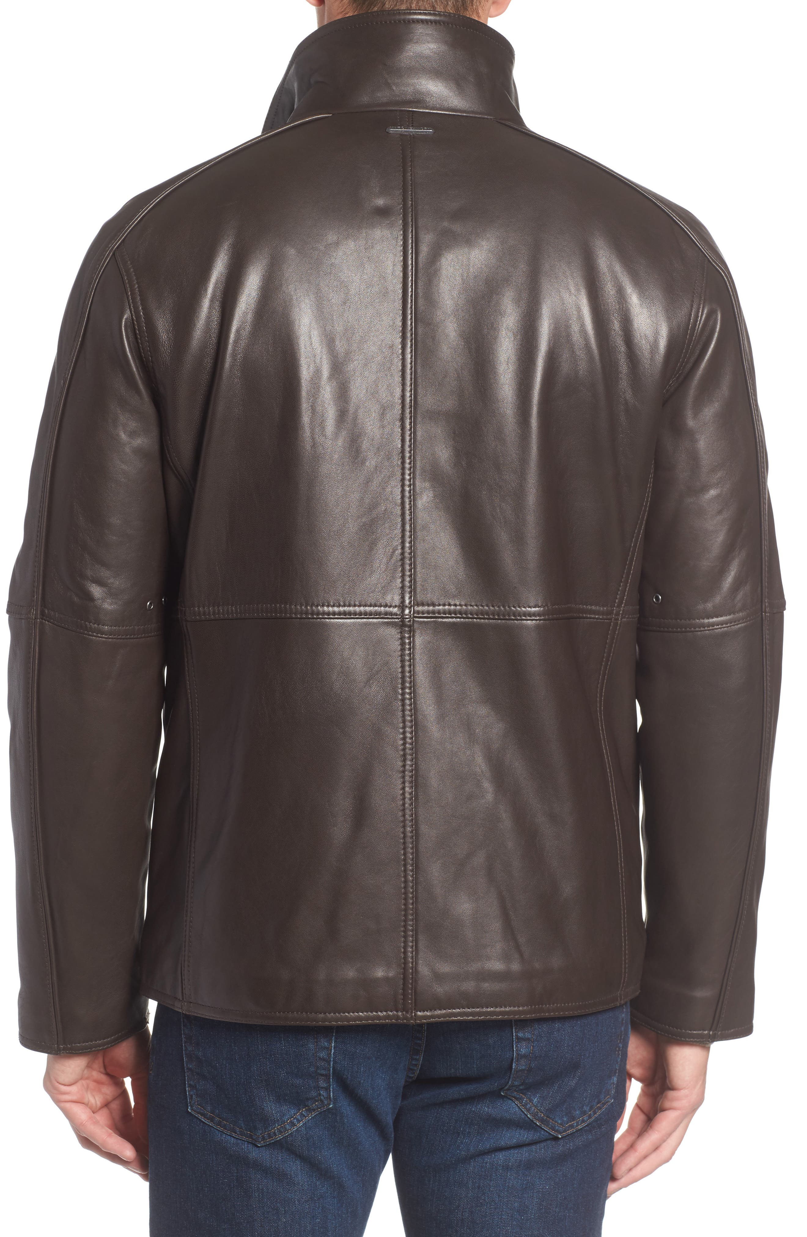 Leather Jacket with Quilted Insert,                             Alternate thumbnail 4, color,