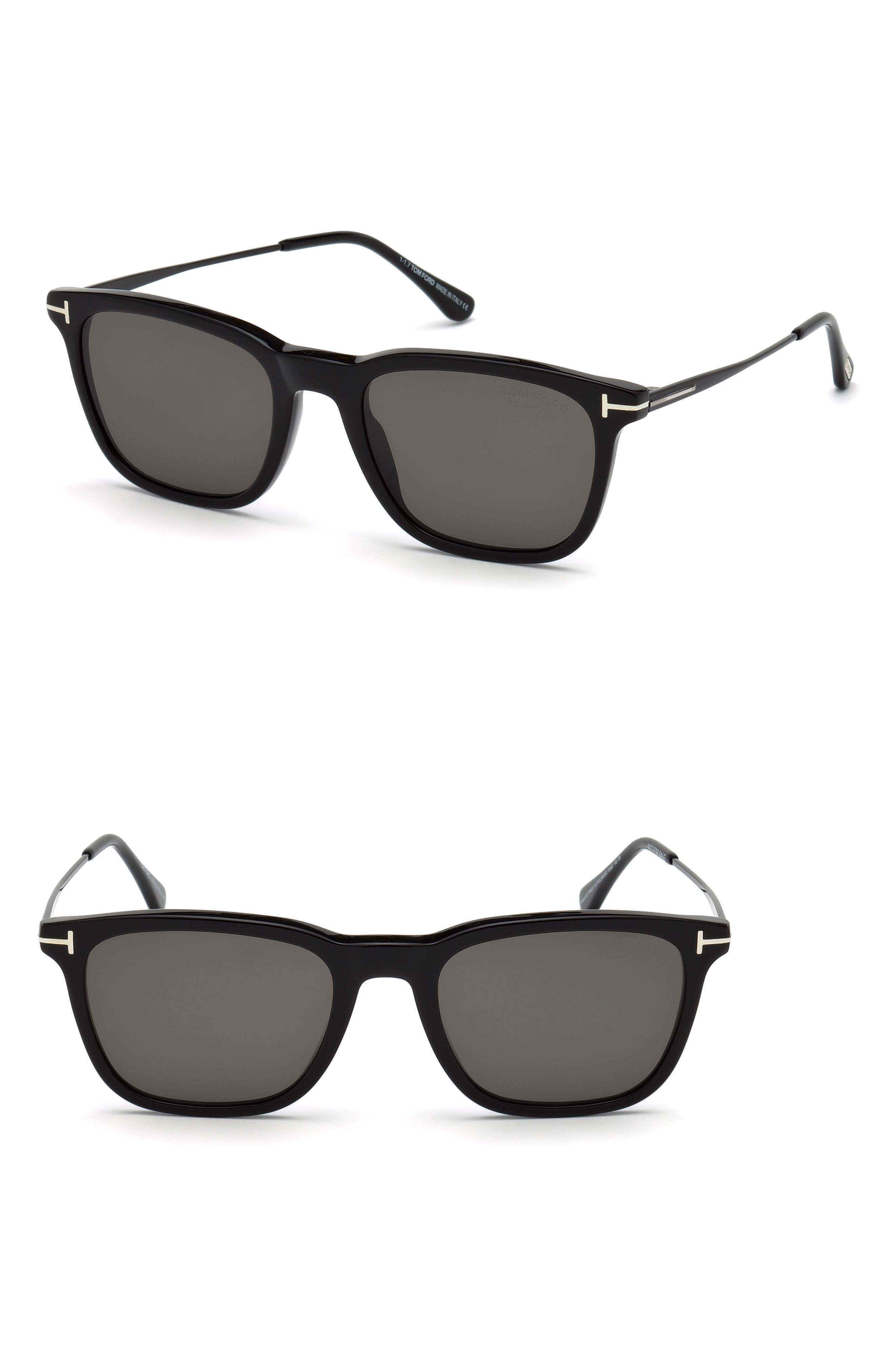 Arnaud 53mm Polarized Sunglasses,                             Main thumbnail 1, color,                             SHINY BLACK / SMOKE POLARIZED