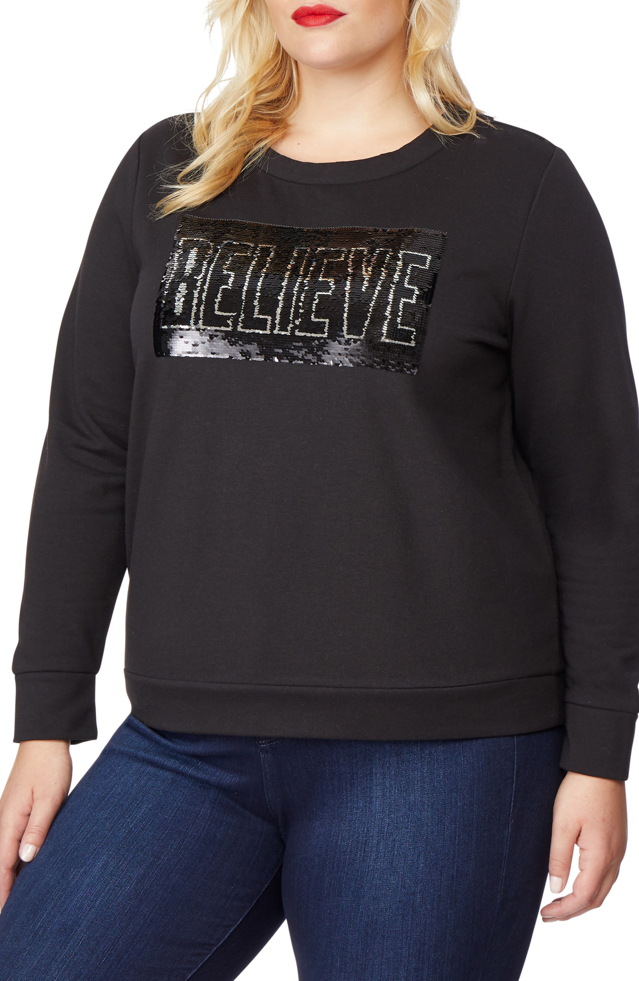 Embellished Sweatshirt,                             Alternate thumbnail 3, color,                             BELIEVE/ ACHIEVE
