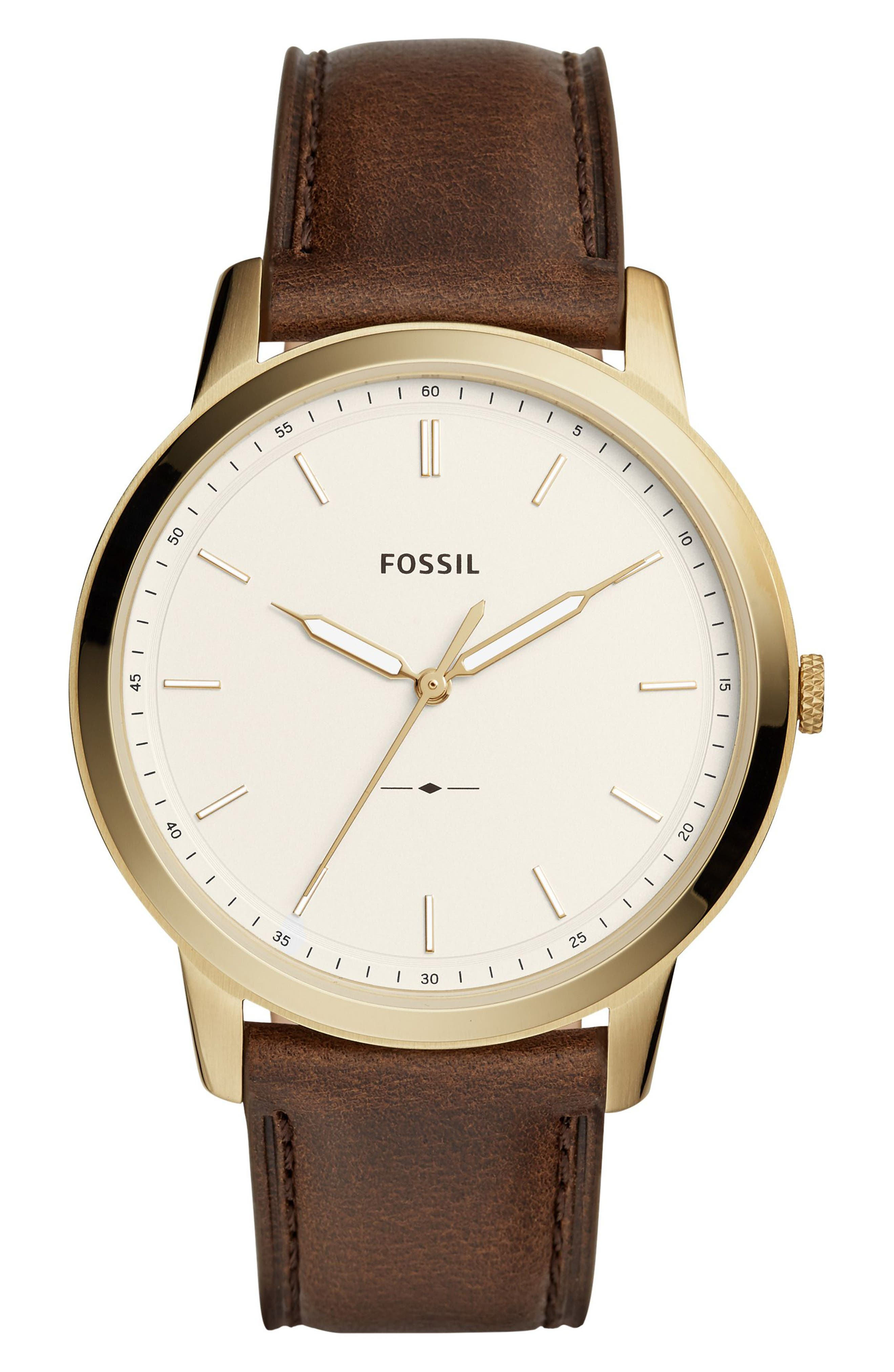 The Minimalist Leather Strap Watch, 44mm,                         Main,                         color, BROWN/ WHITE/ GOLD