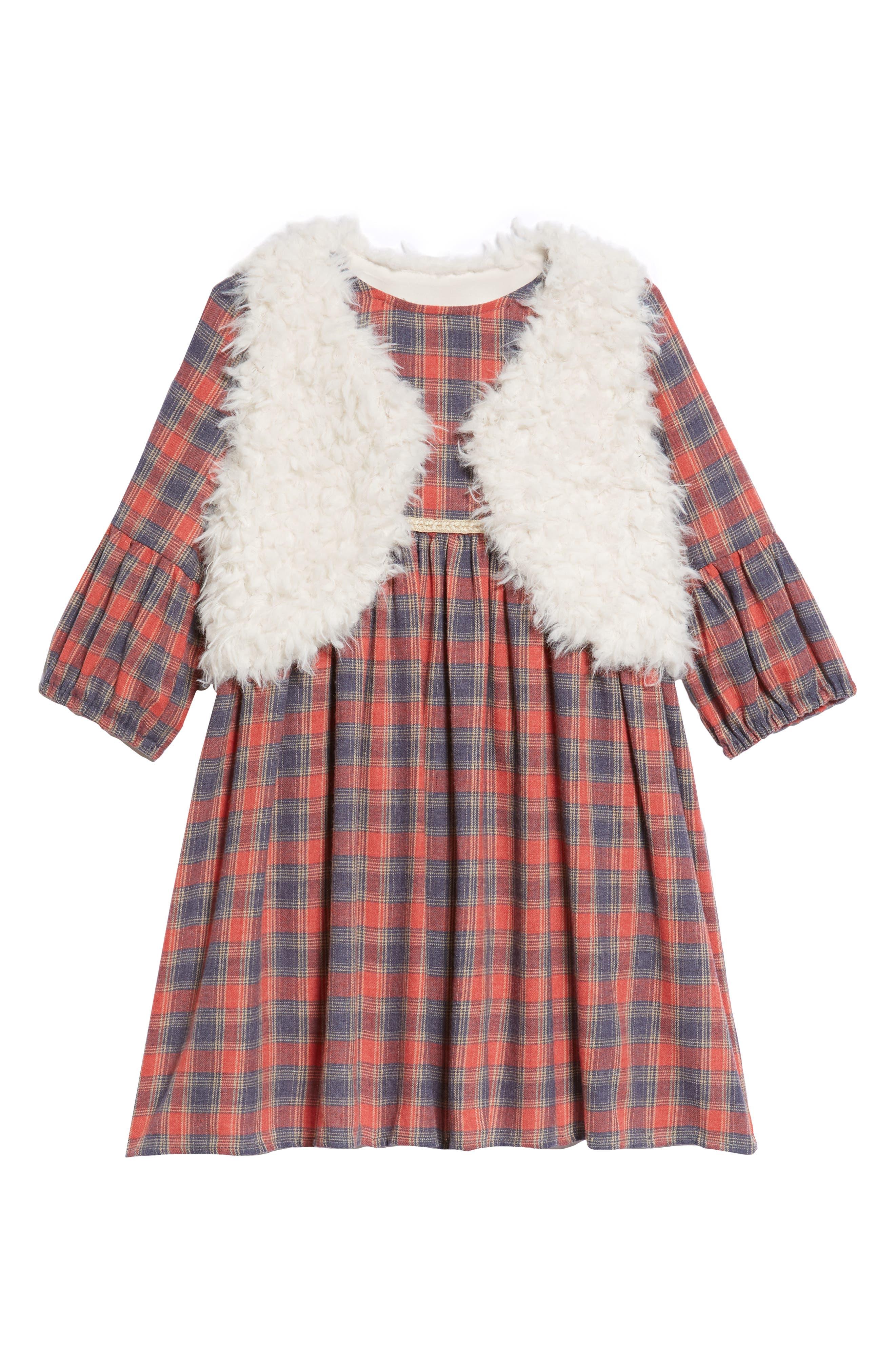 Toddler Girls Pippa  Julie Plaid Dress  Faux Fur Vest Set