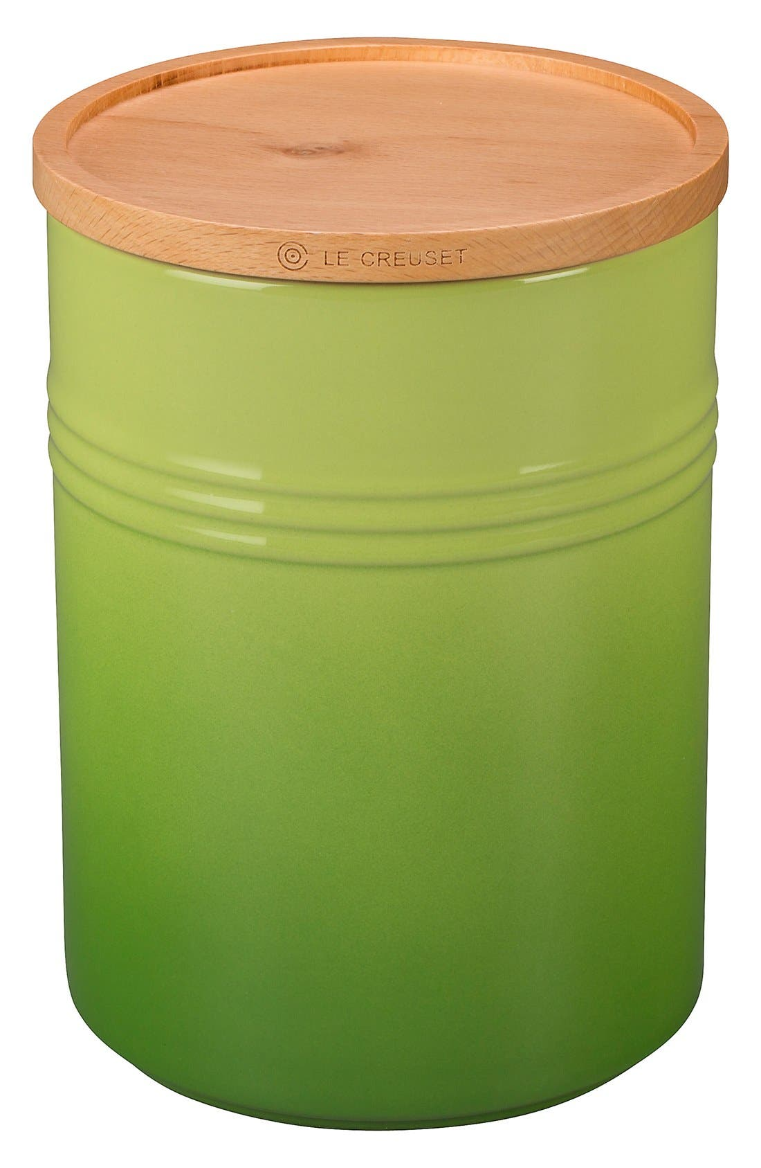 Glazed 22 Ounce Stoneware Storage Canister with Wooden Lid,                             Main thumbnail 1, color,                             PALM
