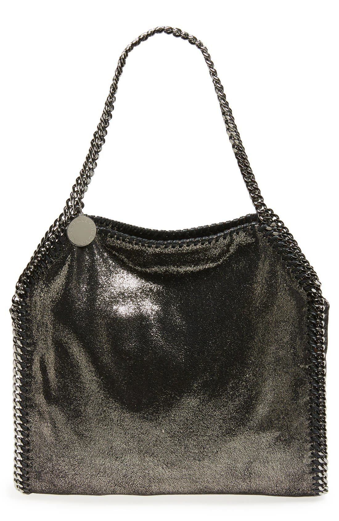 'Small Falabella' Faux Leather Tote, Main, color, RUTHENIUM