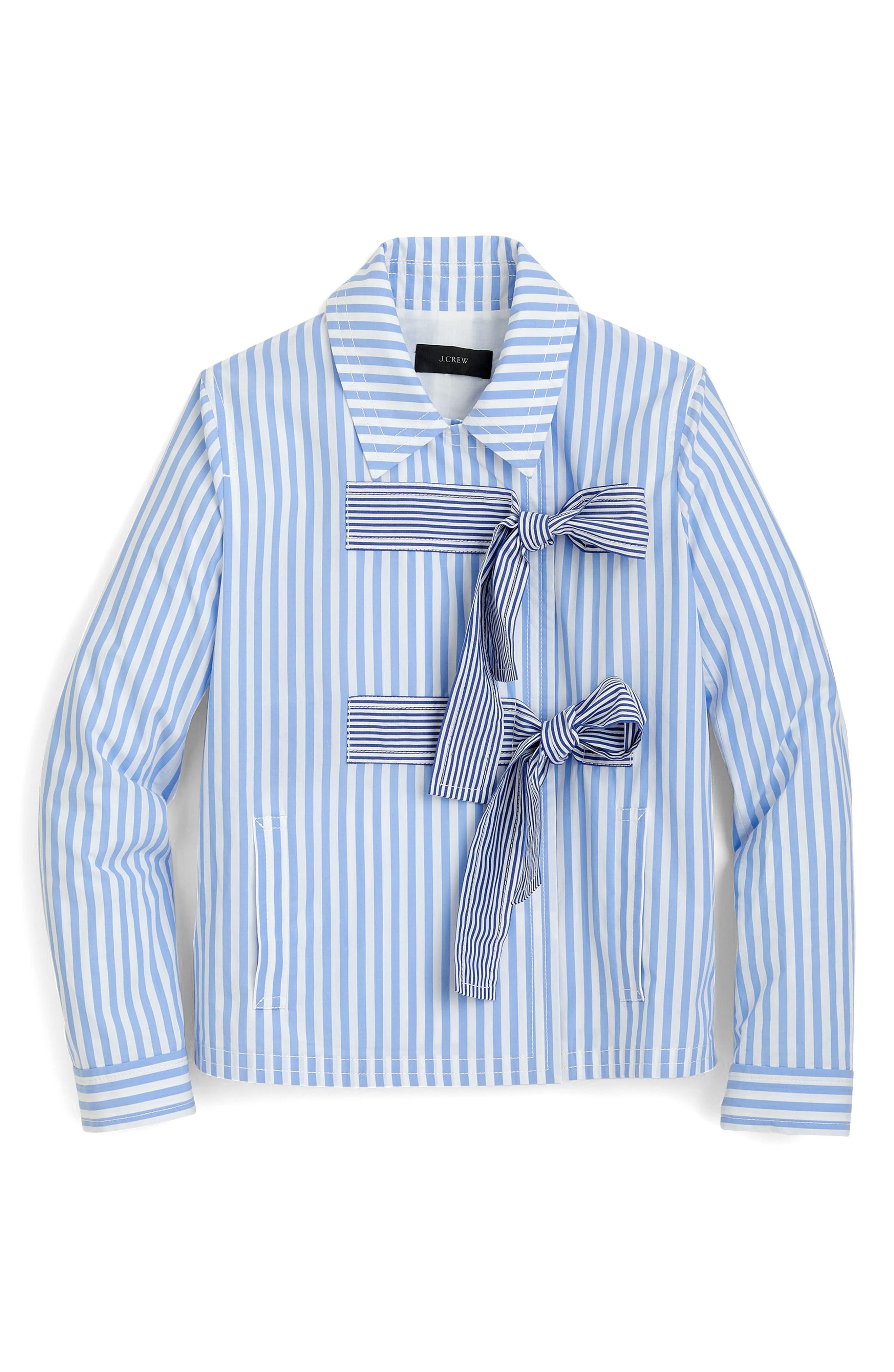 Rhonda Mixed Stripe Bow Jacket,                             Alternate thumbnail 3, color,