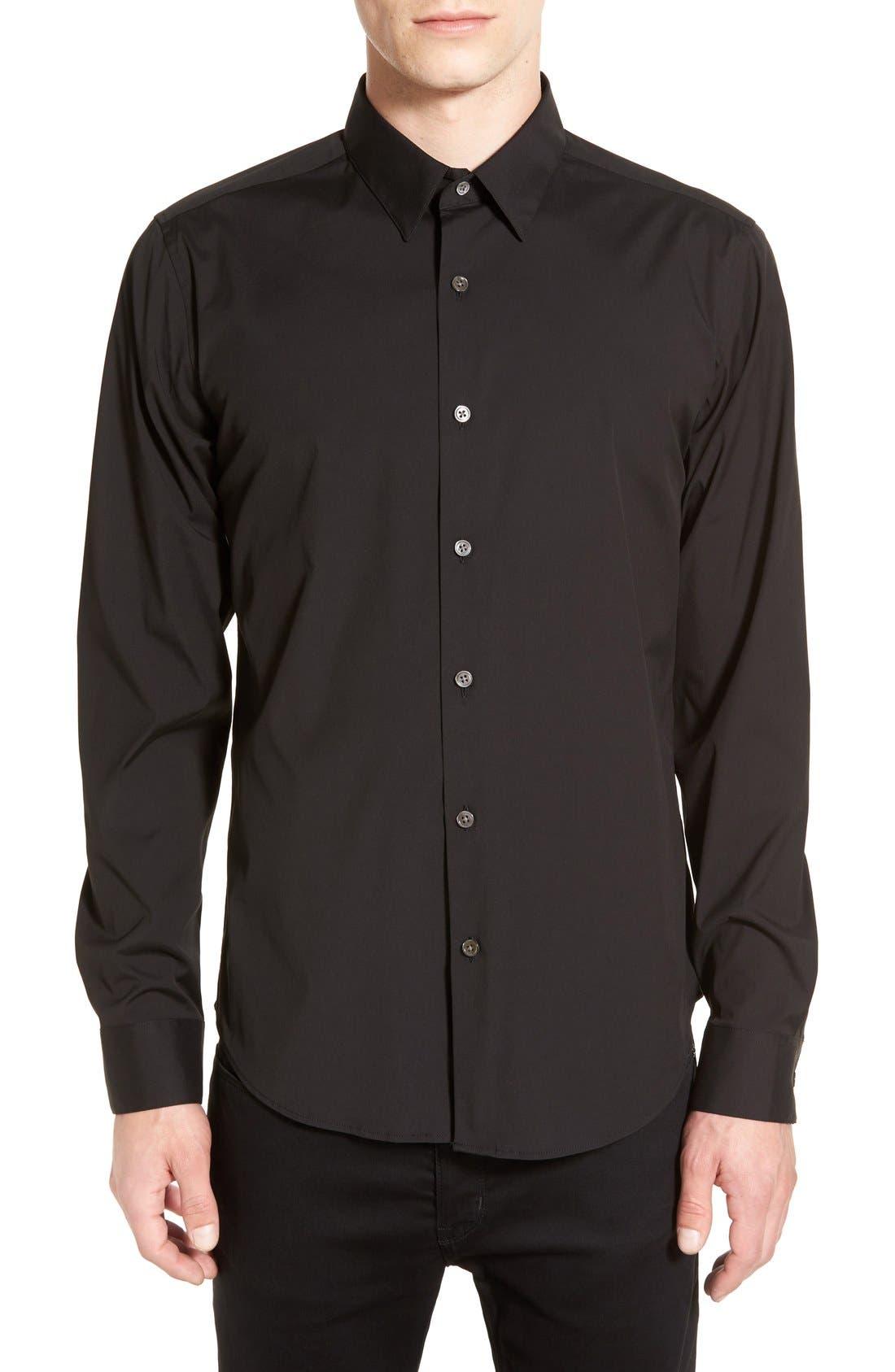 'Sylvain' Trim Fit Long Sleeve Sport Shirt,                             Main thumbnail 1, color,                             BLACK